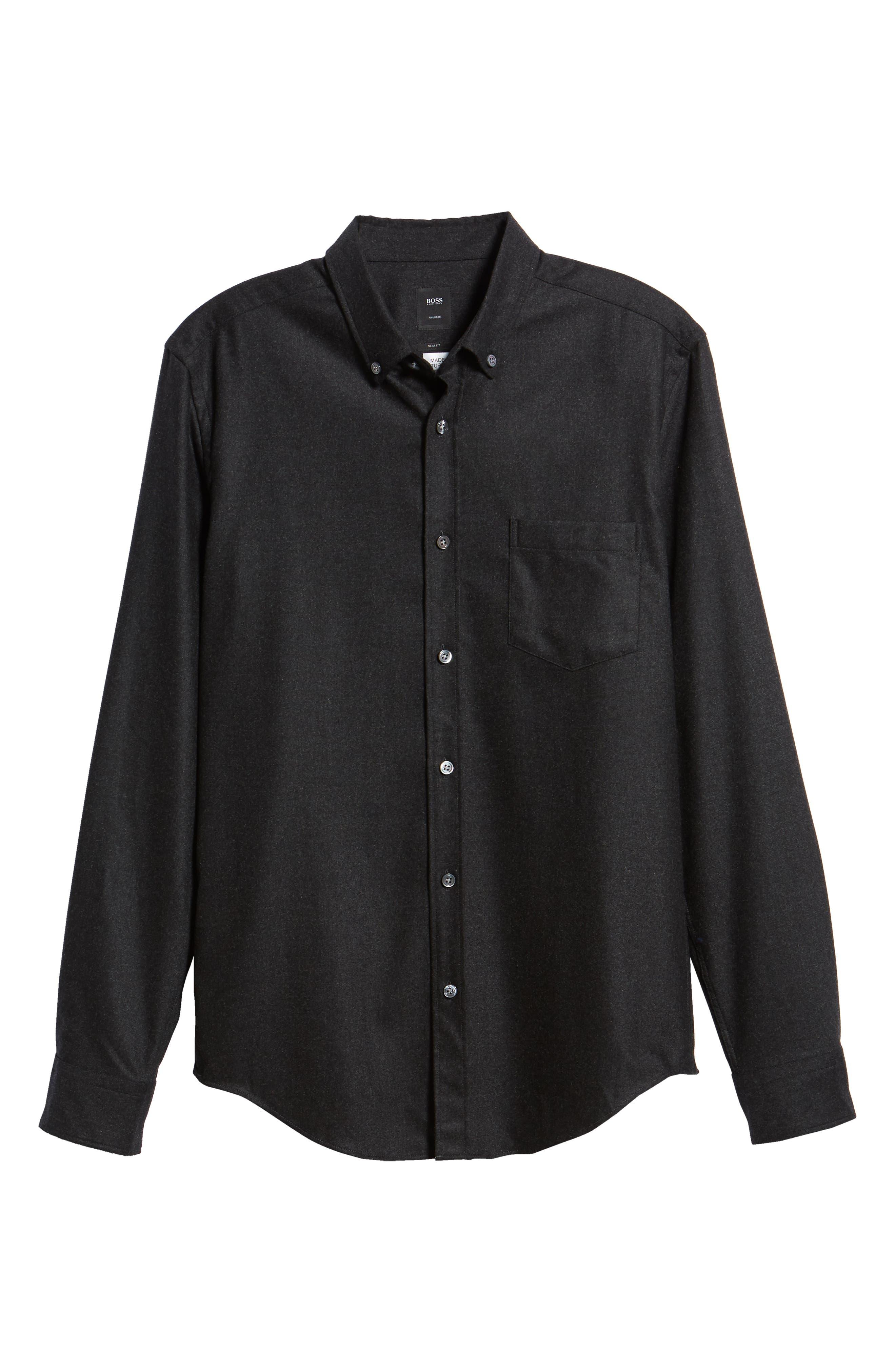 T-Rafael Long Sleeve Slim Fit Flannel Sport Shirt,                             Alternate thumbnail 5, color,                             GREY
