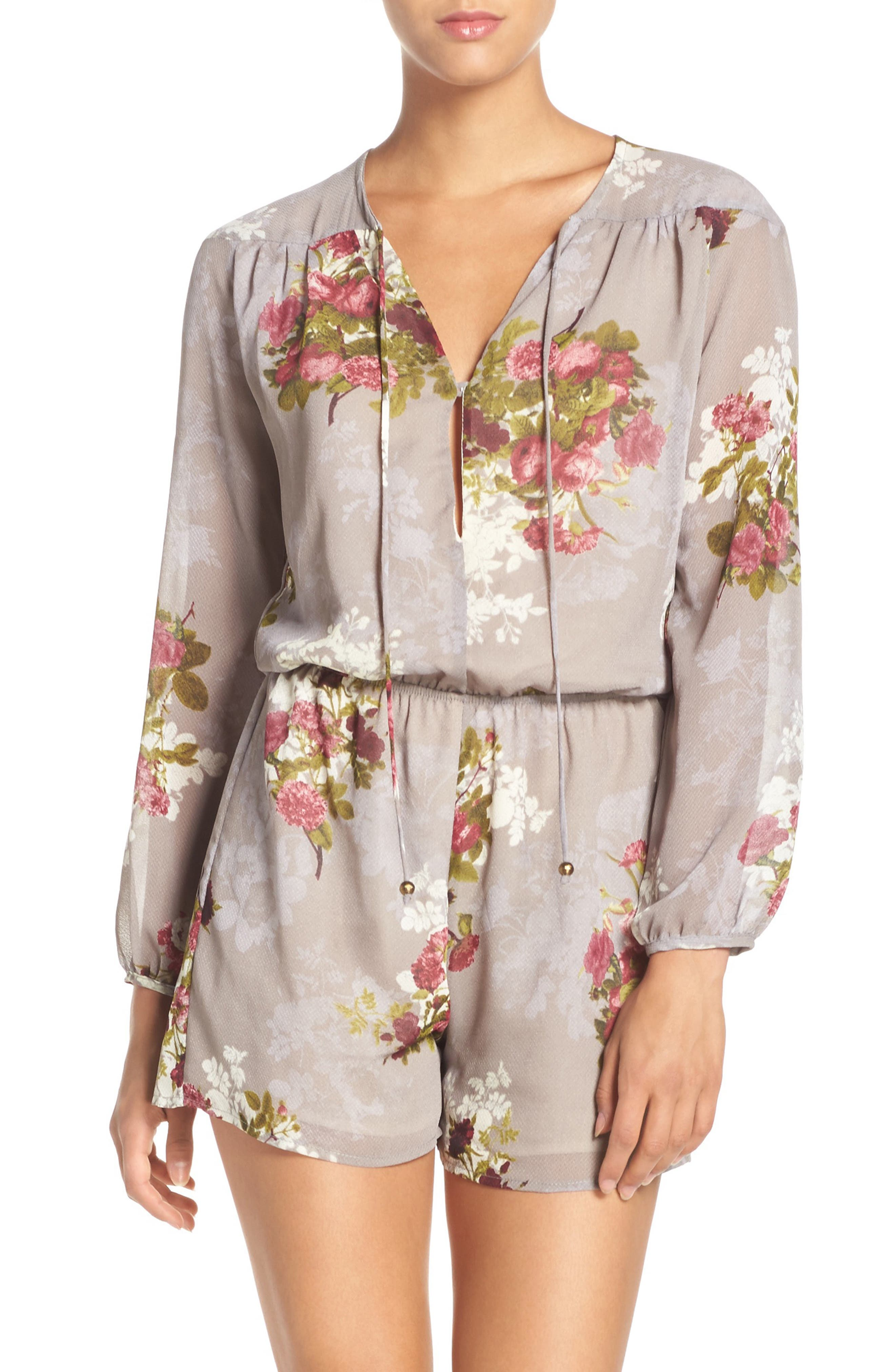 'Julia' Floral Print Tie Neck Romper,                             Alternate thumbnail 5, color,                             040