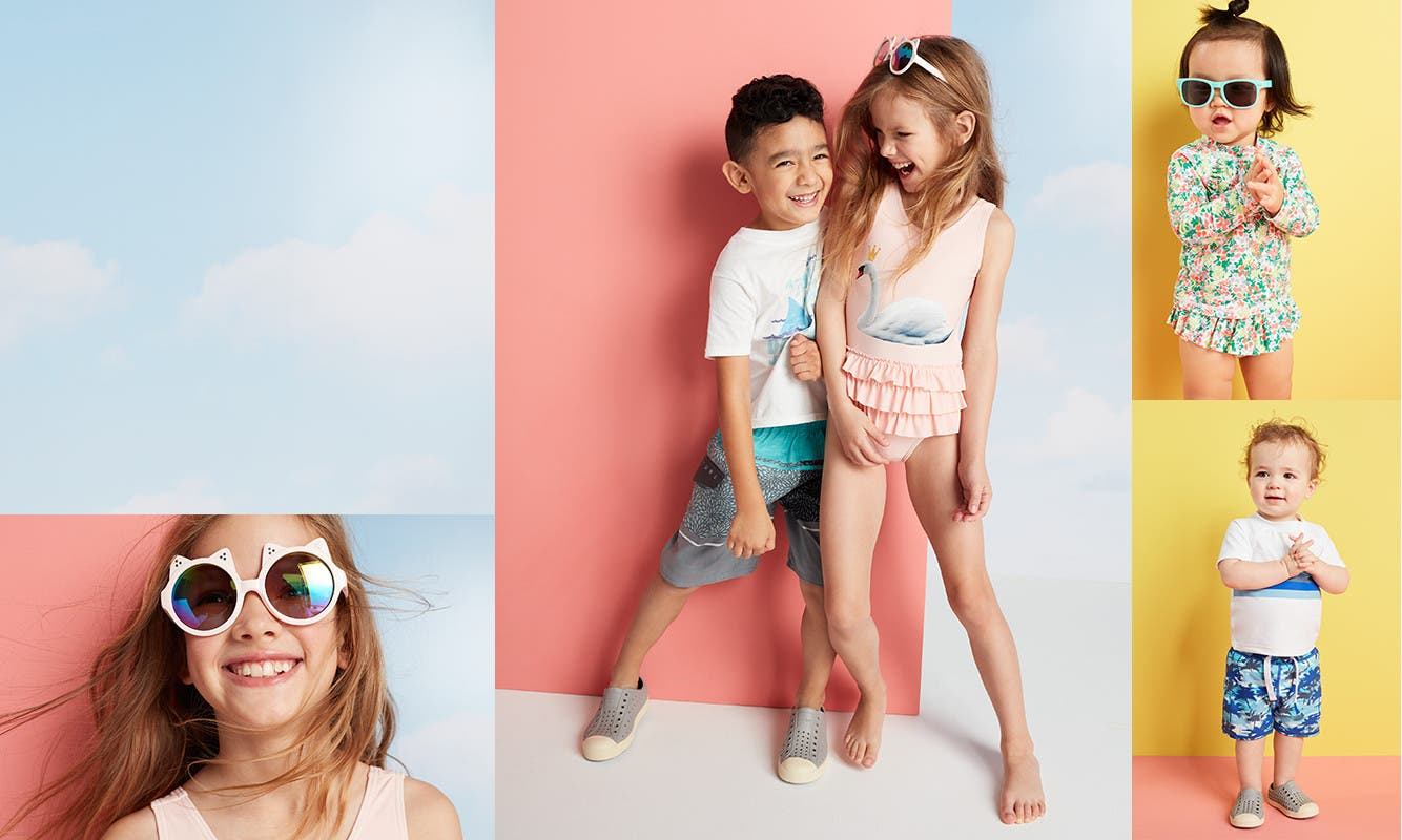 Kids' vacation clothing, shoes and accessories.