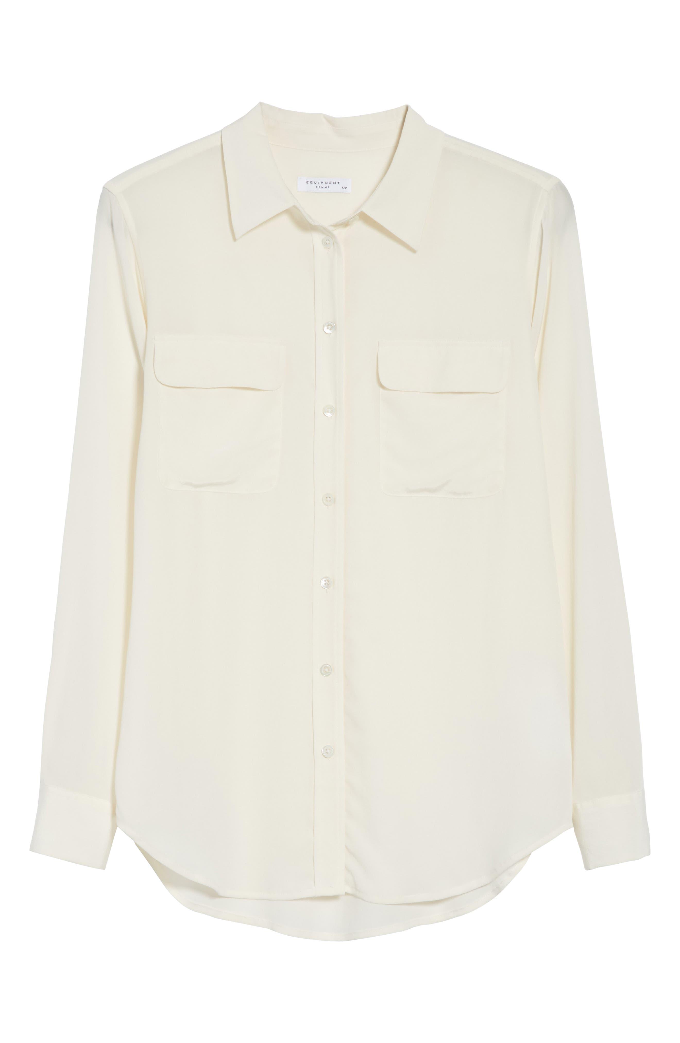 EQUIPMENT,                             'Slim Signature' Silk Shirt,                             Alternate thumbnail 6, color,                             BRIGHT WHITE