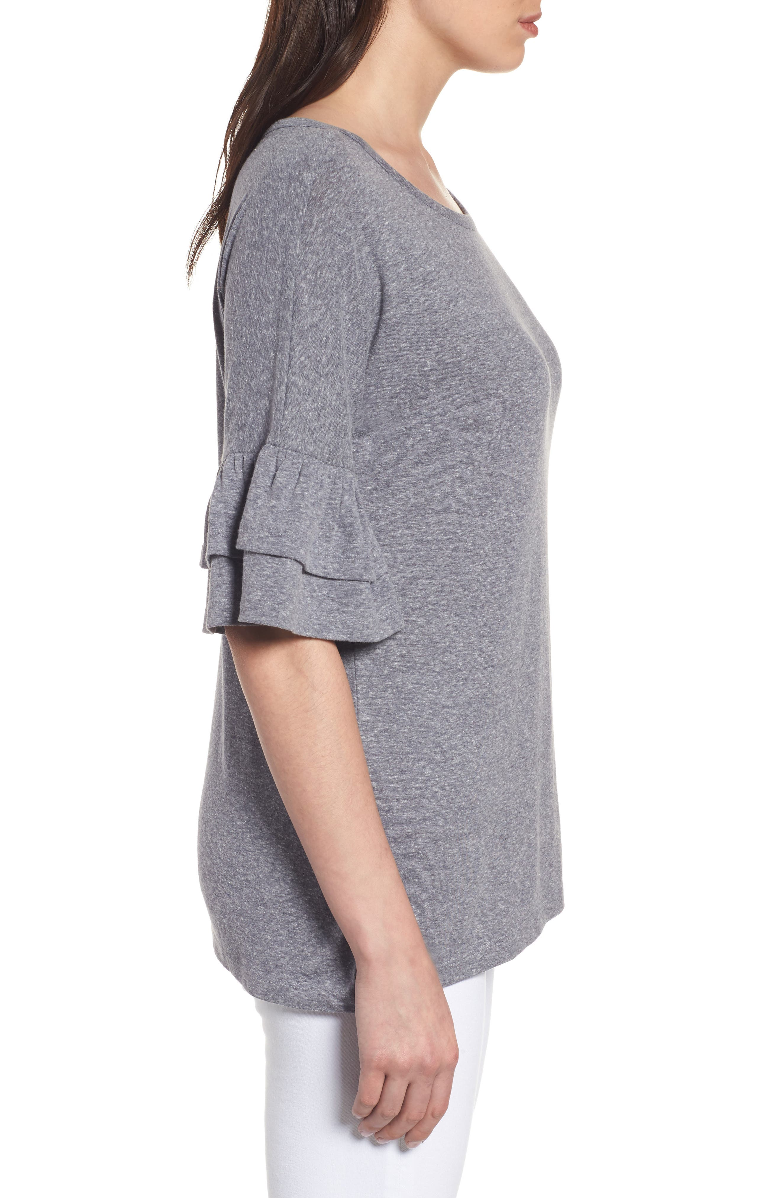 Tiered Bell Sleeve Tee,                             Alternate thumbnail 19, color,