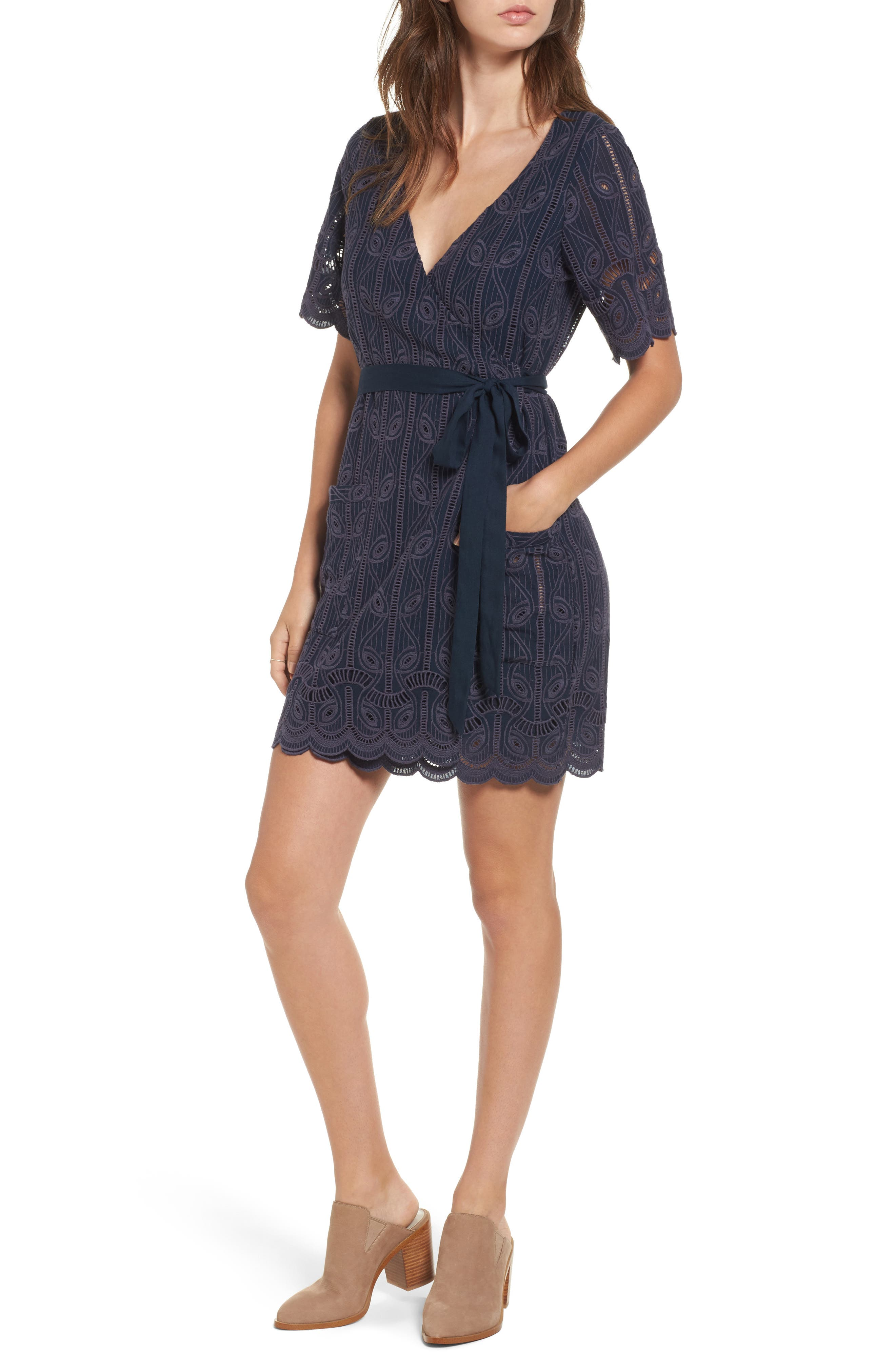 Rocky Cutwork Embroidery Wrap Dress,                         Main,                         color, 400