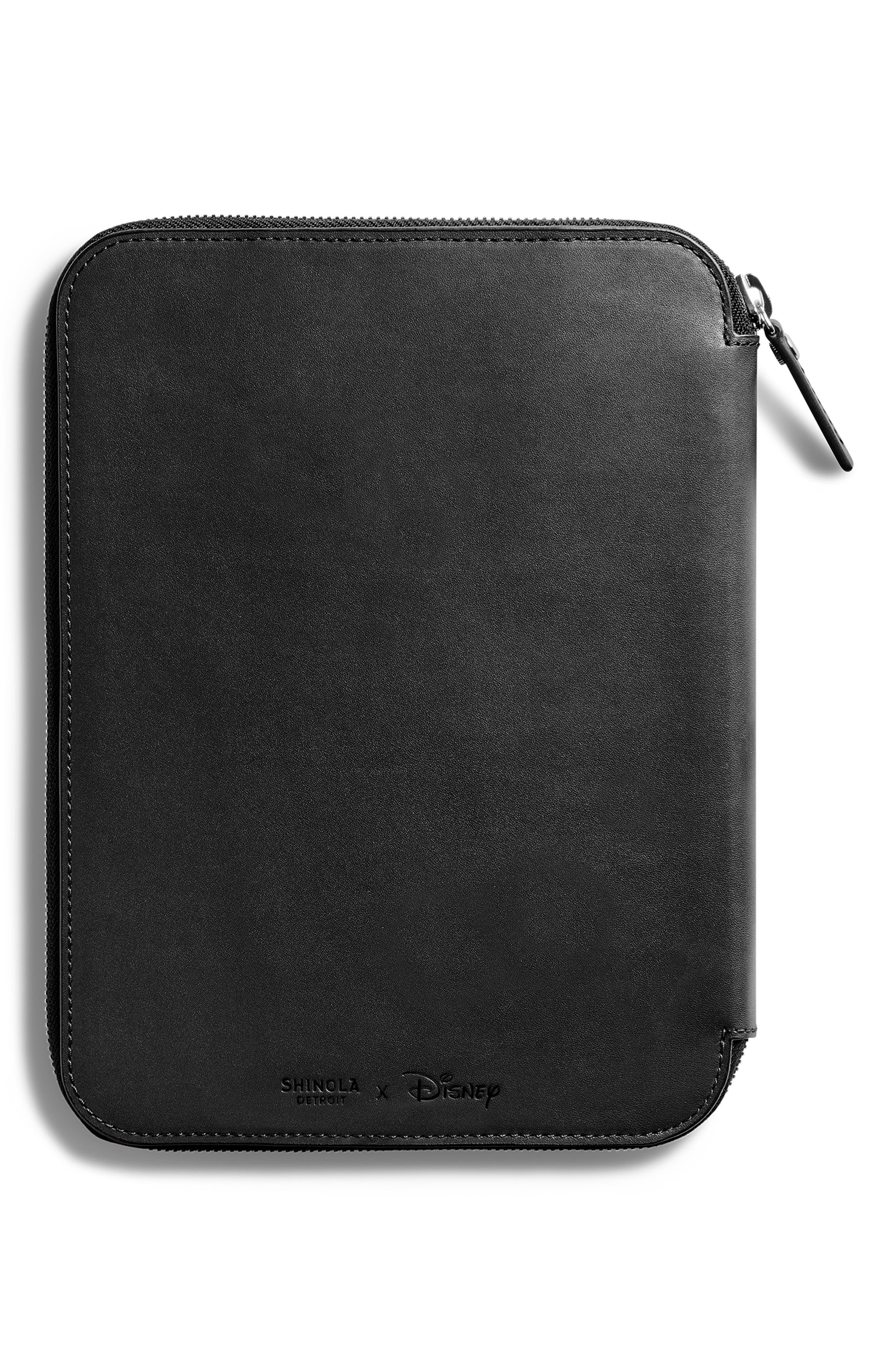SHINOLA,                             x Disney Leather Tech Portfolio,                             Alternate thumbnail 2, color,                             BLACK