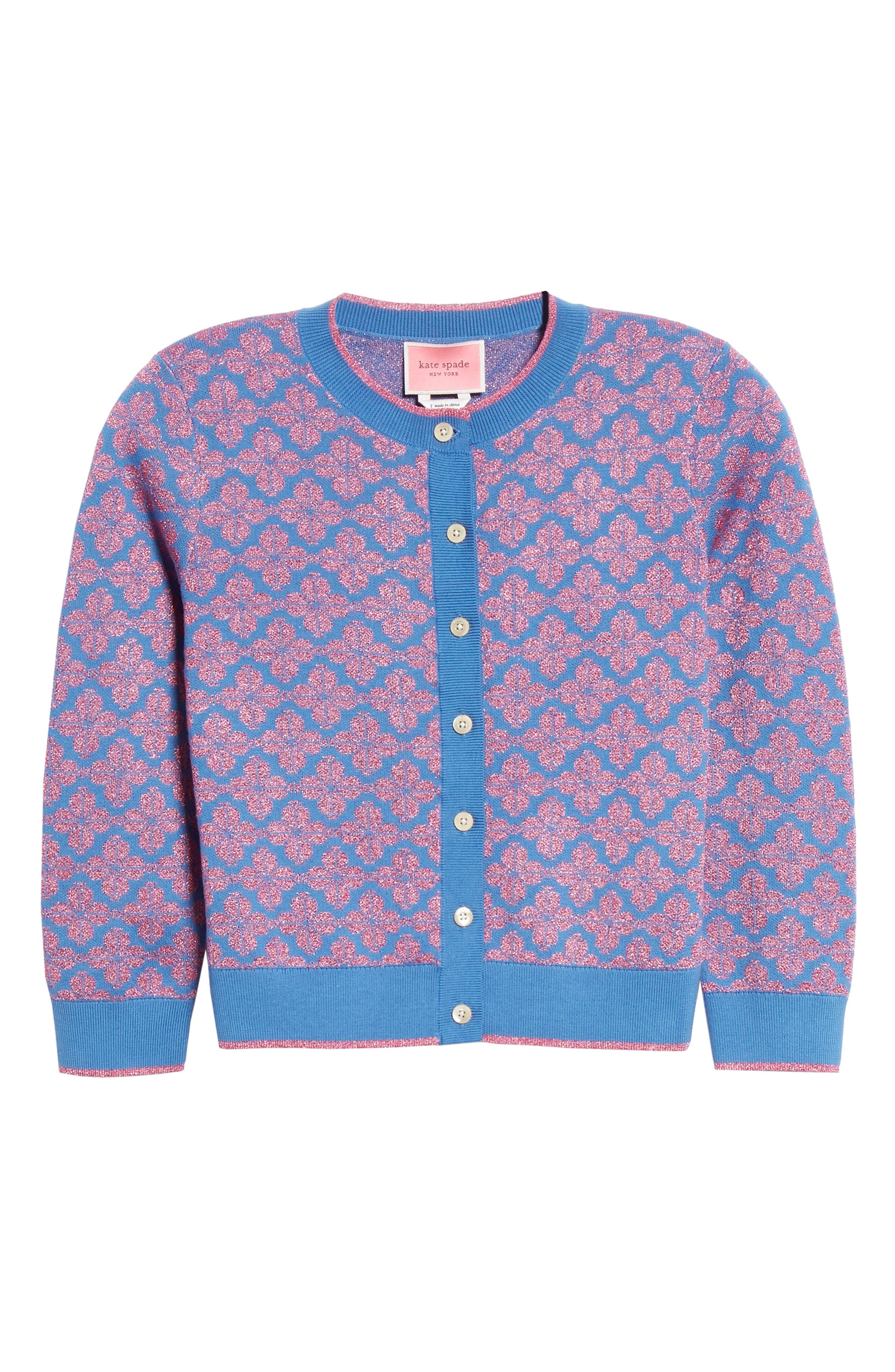 spade floral cardigan,                             Alternate thumbnail 6, color,                             VIBRANT BLUE