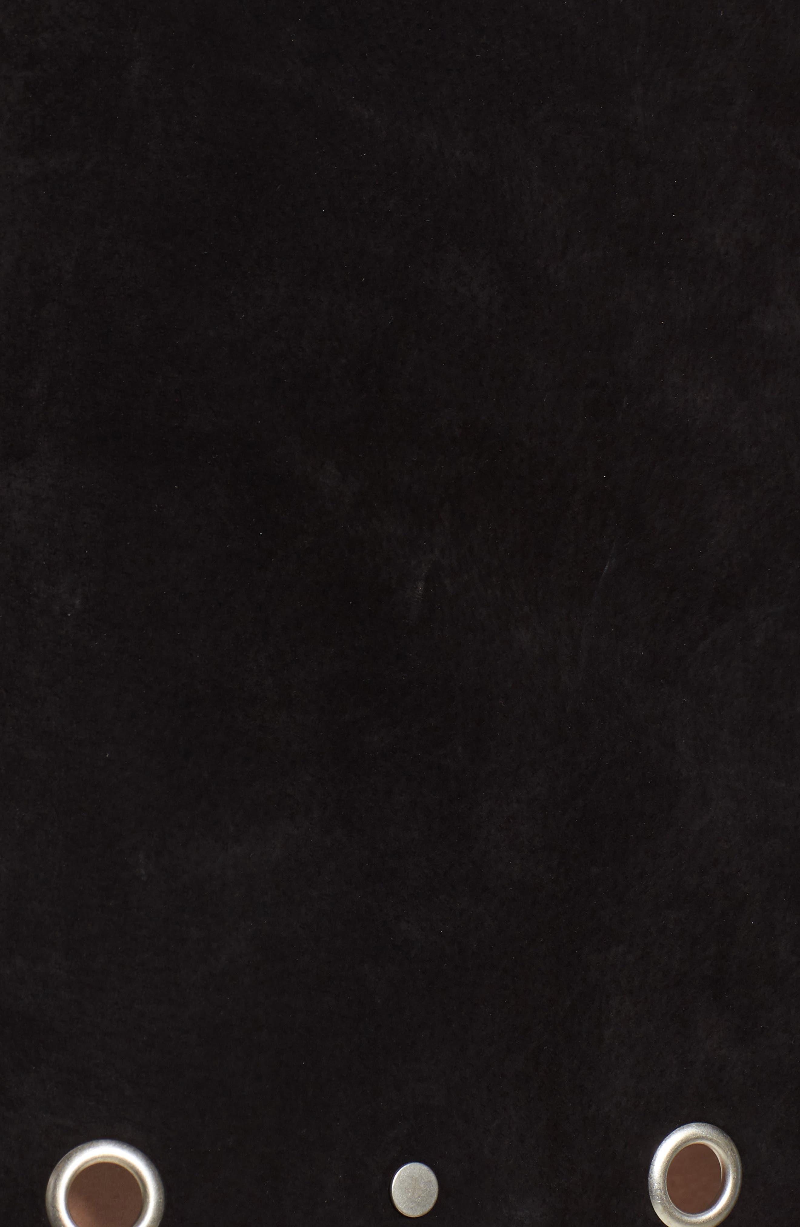 Grommet Suede Skirt,                             Alternate thumbnail 5, color,                             CASTLE BLACK