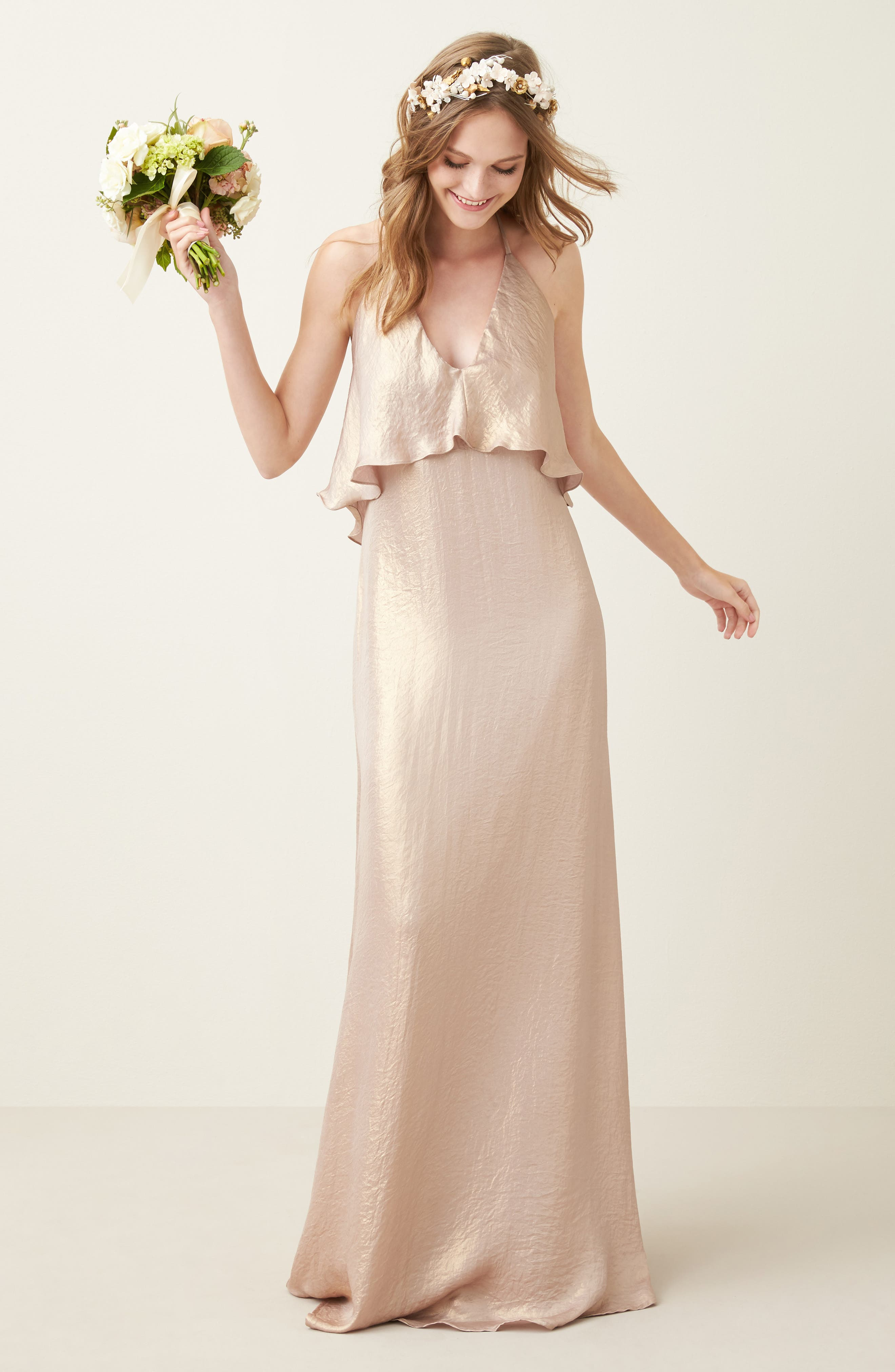 Crushed Satin Popover Halter Gown,                             Alternate thumbnail 7, color,                             710