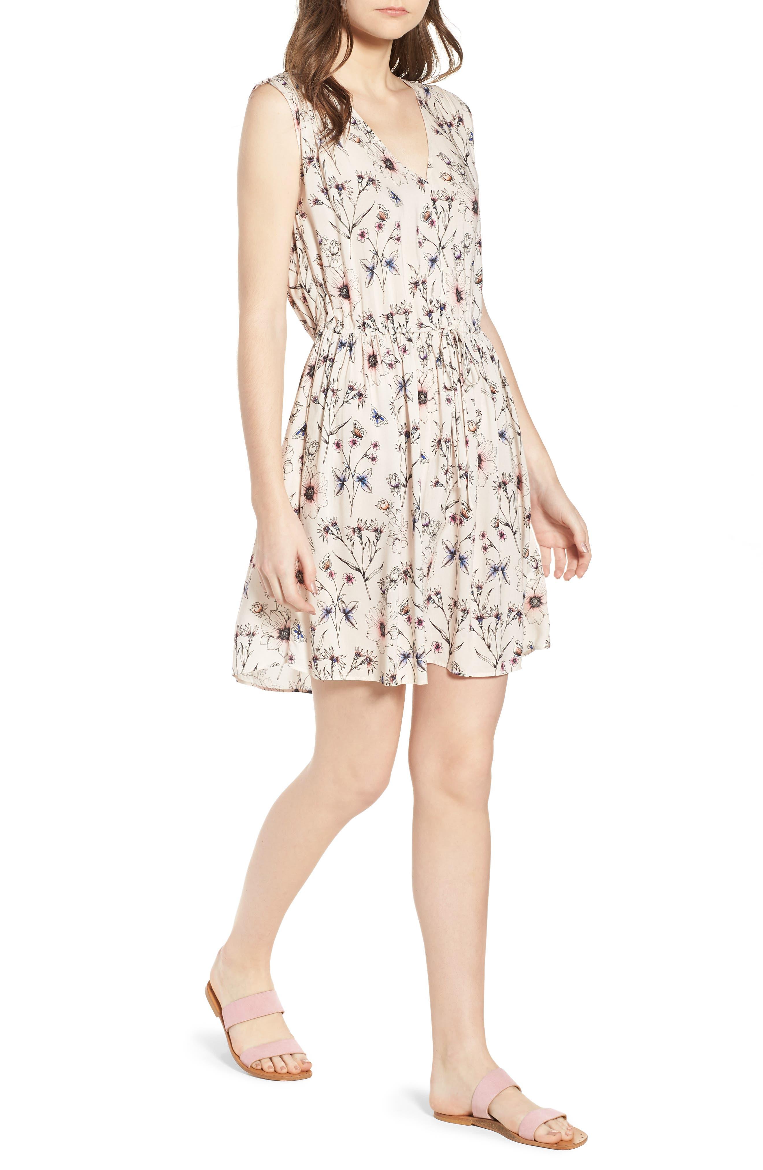 Floral Printed Minidress,                         Main,                         color, 900