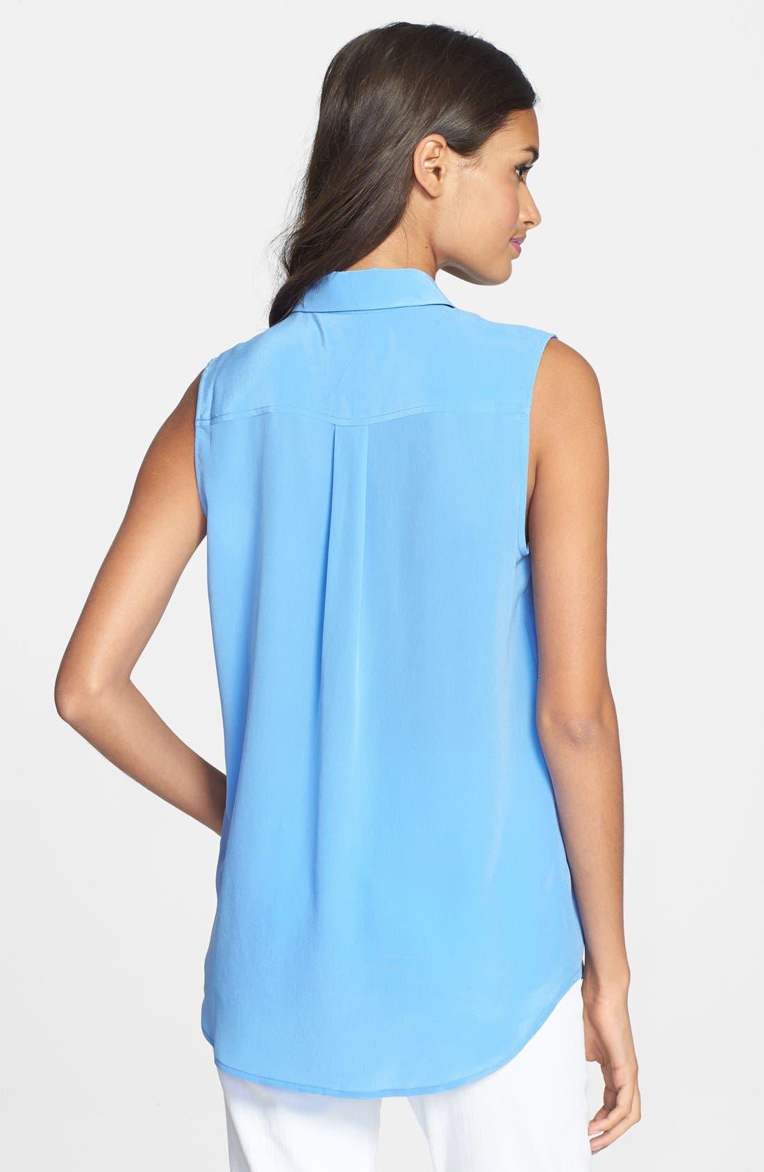 'Slim Signature' Sleeveless Silk Shirt,                             Alternate thumbnail 121, color,