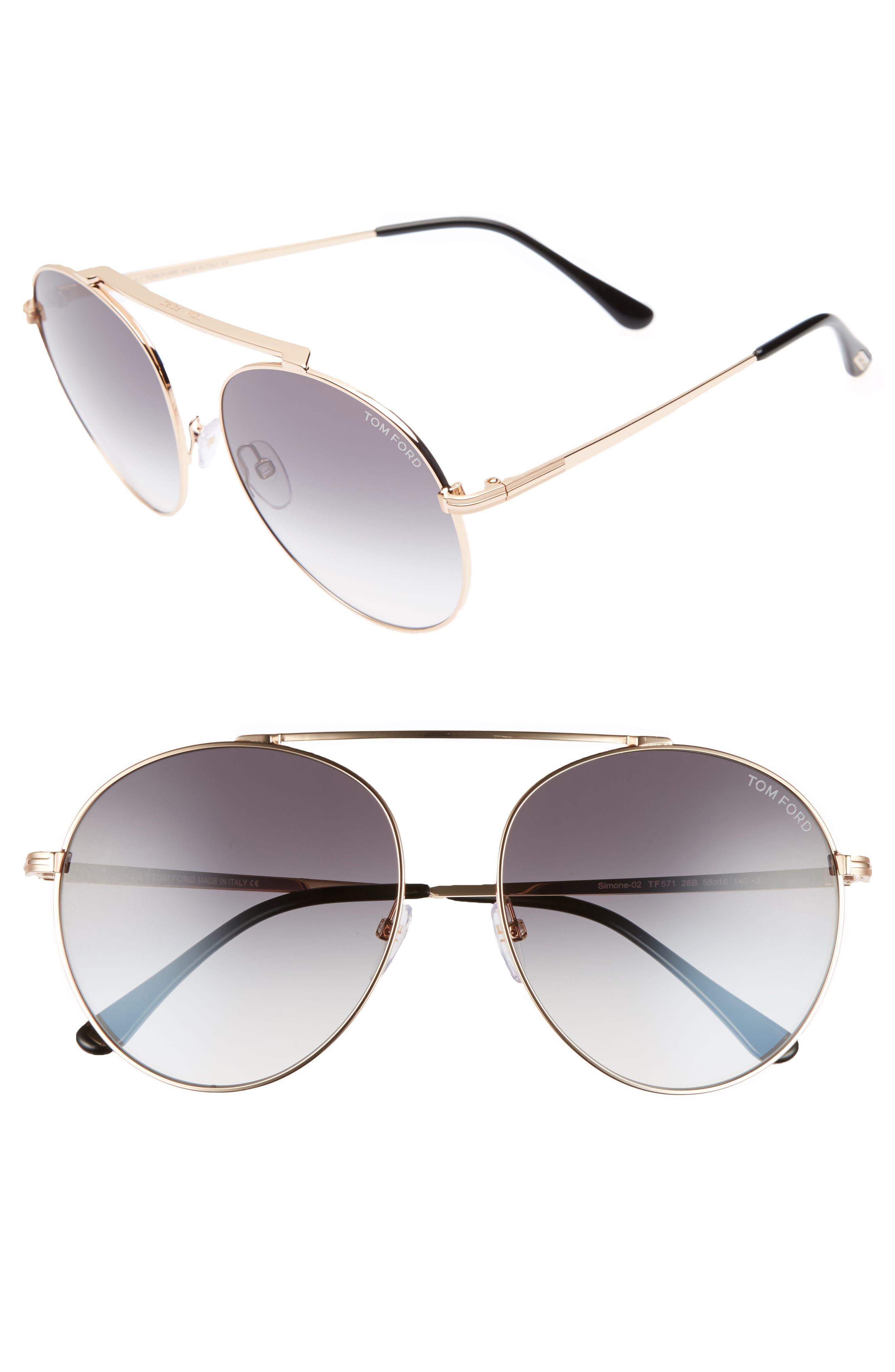 Simone 58mm Gradient Mirrored Round Sunglasses,                         Main,                         color, 710