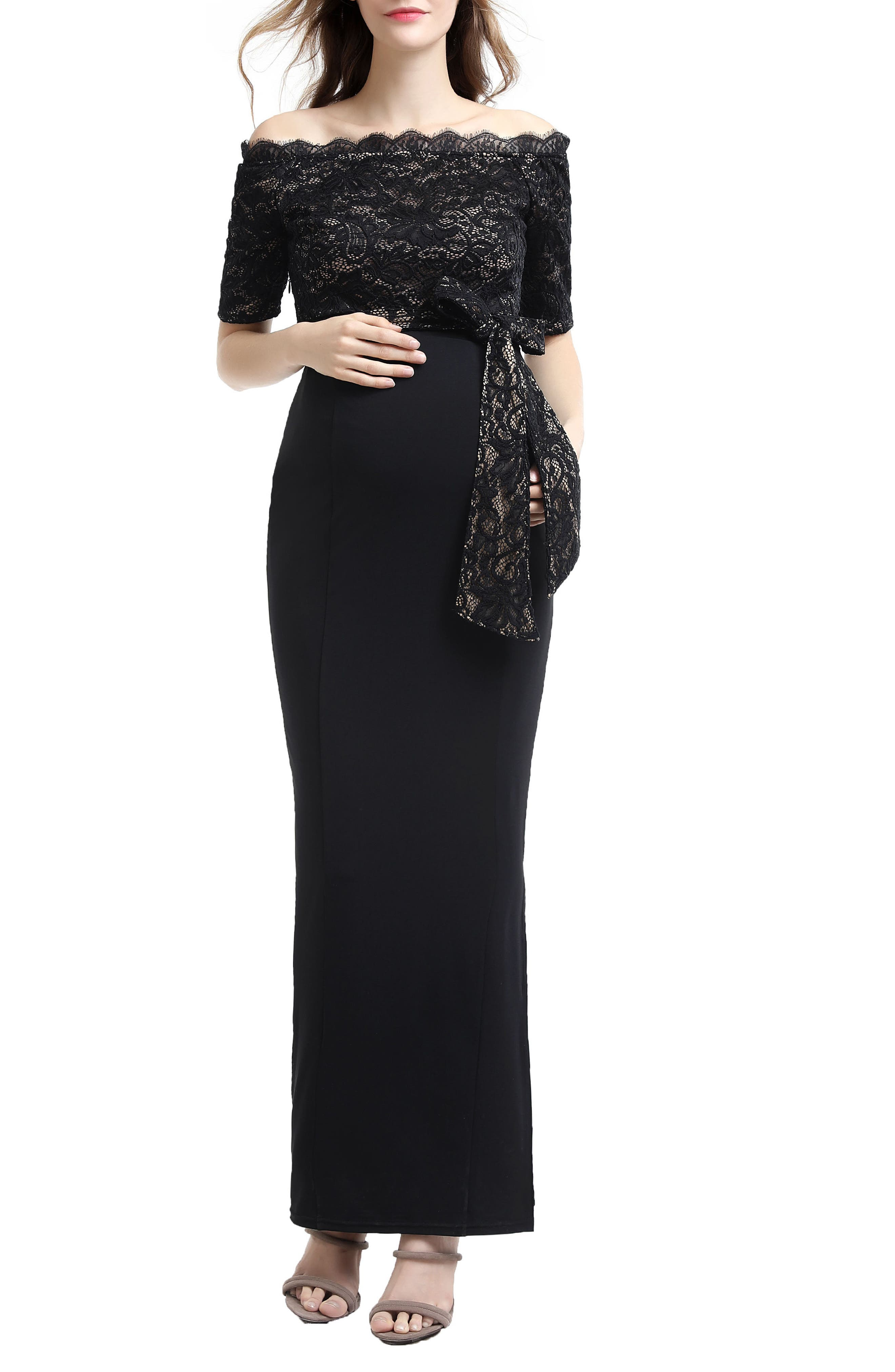 Everly Off the Shoulder Maternity Gown,                             Main thumbnail 1, color,                             BLACK