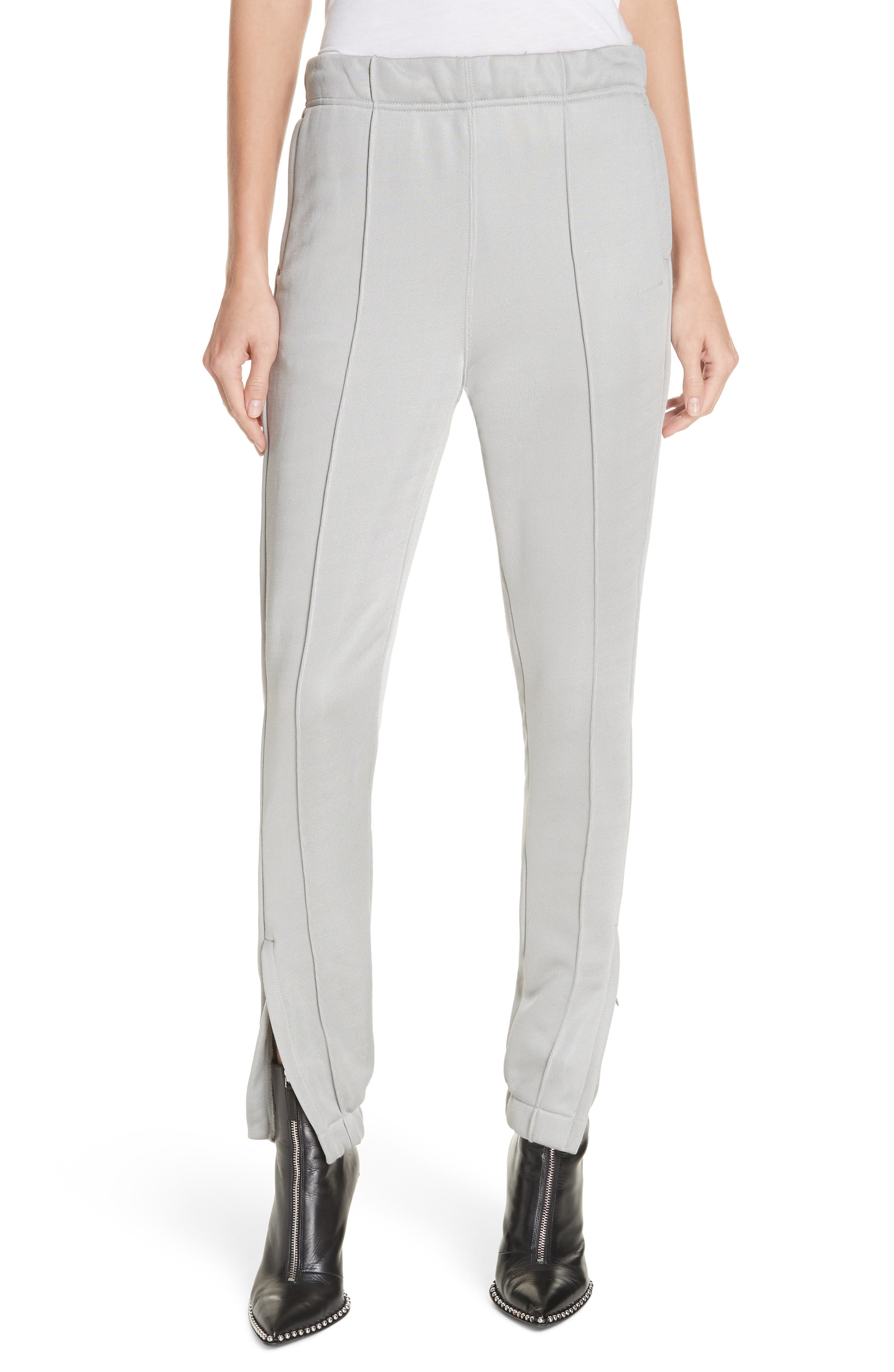 ALEXANDERWANG.T T By Alexander Wang Zip Hem French Terry Joggers in Silver