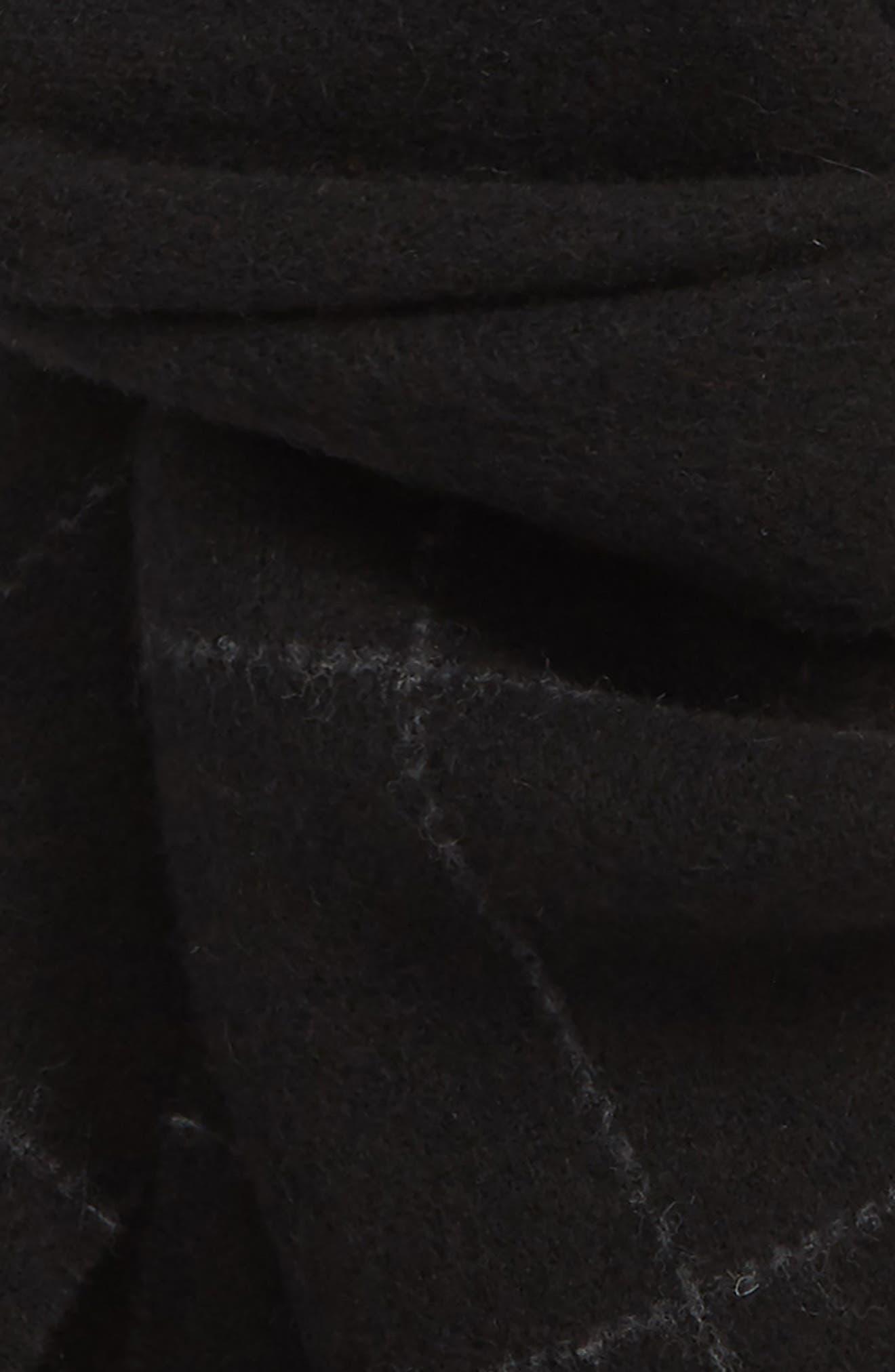 Reversible Windowpane Wool Blend Scarf,                             Alternate thumbnail 3, color,                             BLACK