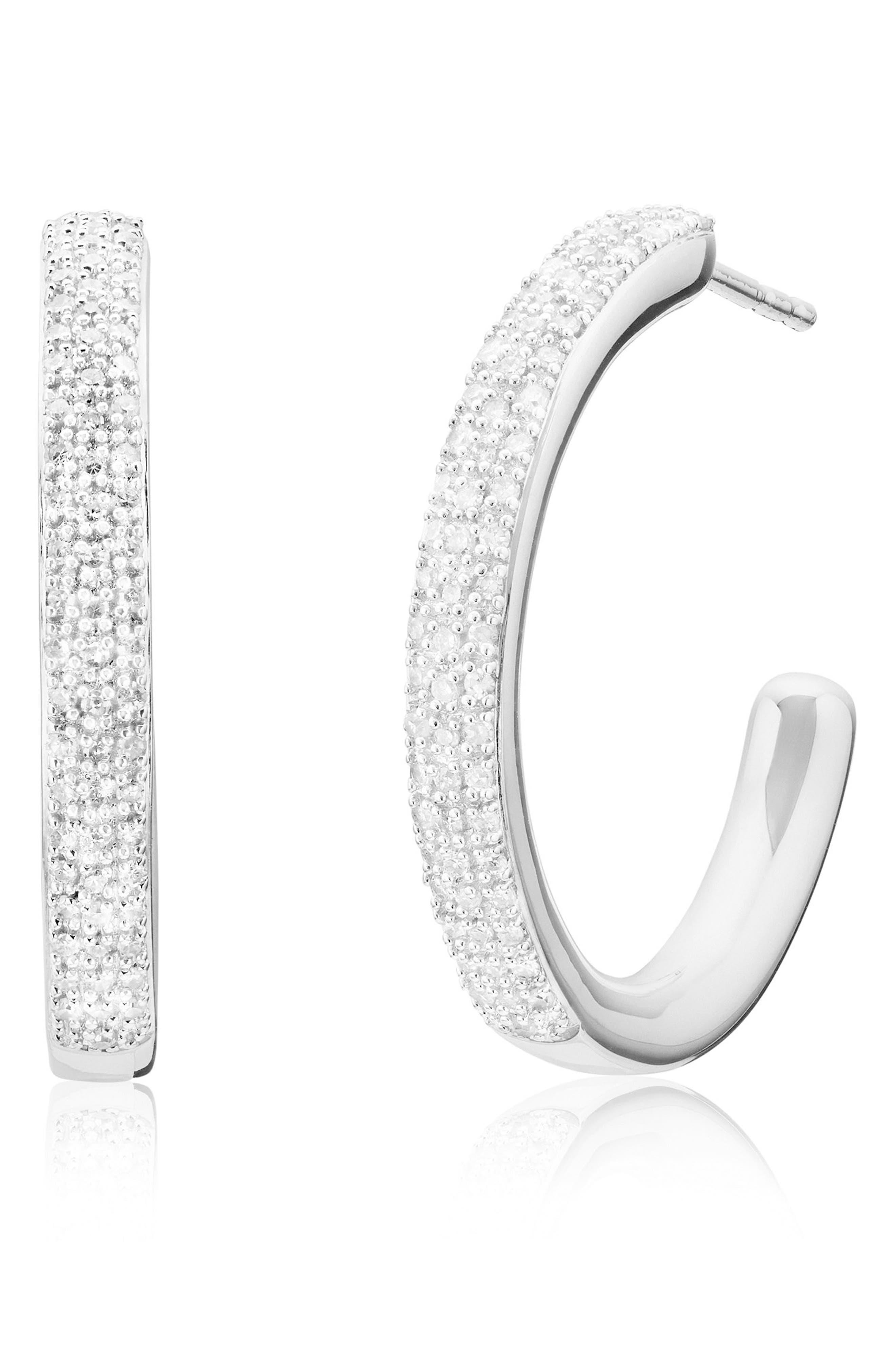 Fiji Large Diamond Hoop Earrings,                             Main thumbnail 1, color,                             SILVER