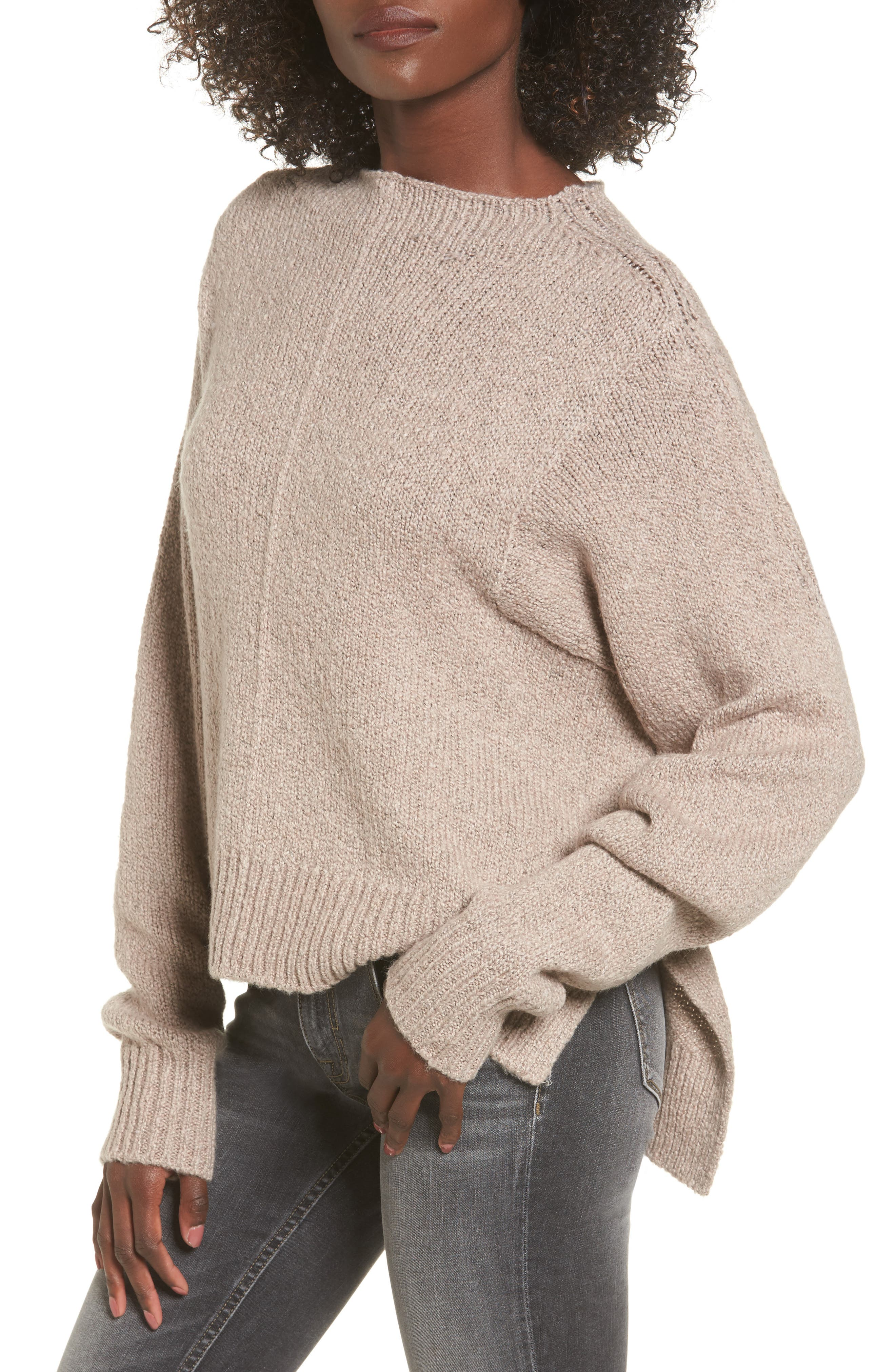 Fuzzy Side Slit Sweater,                             Main thumbnail 2, color,