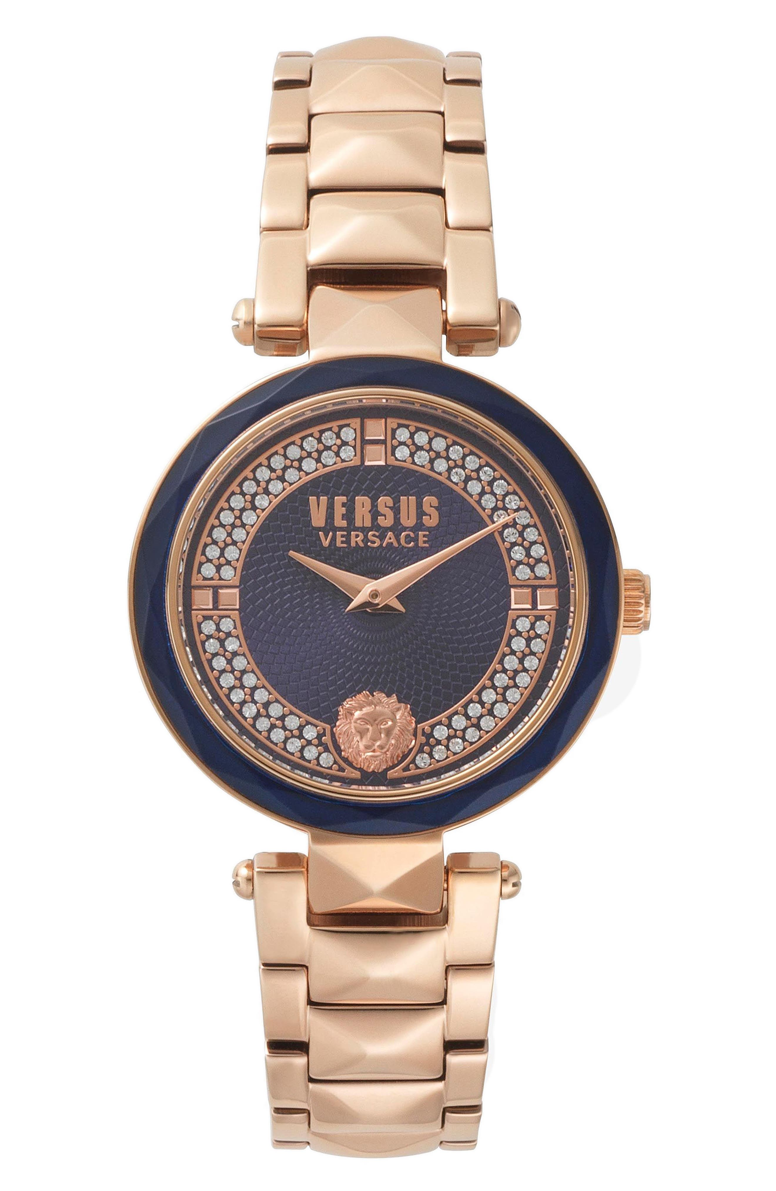 Covent Garden Bracelet Watch, 36mm,                             Main thumbnail 1, color,                             ROSE GOLD/ BLUE/ ROSE GOLD