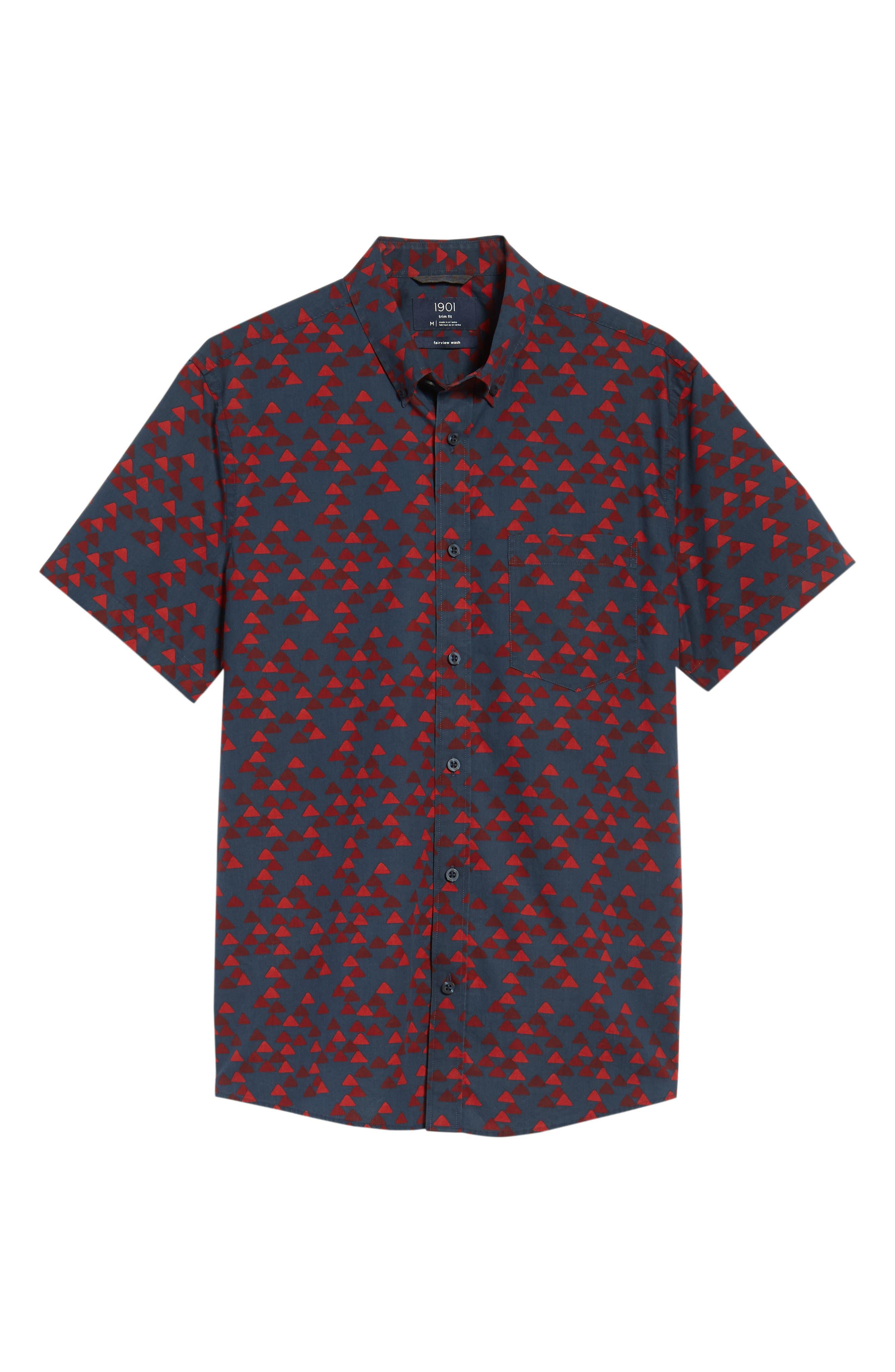 Ivy Trim Fit Print Sport Shirt,                             Alternate thumbnail 6, color,                             NAVY IRIS BURGUNDY TRIANGLES