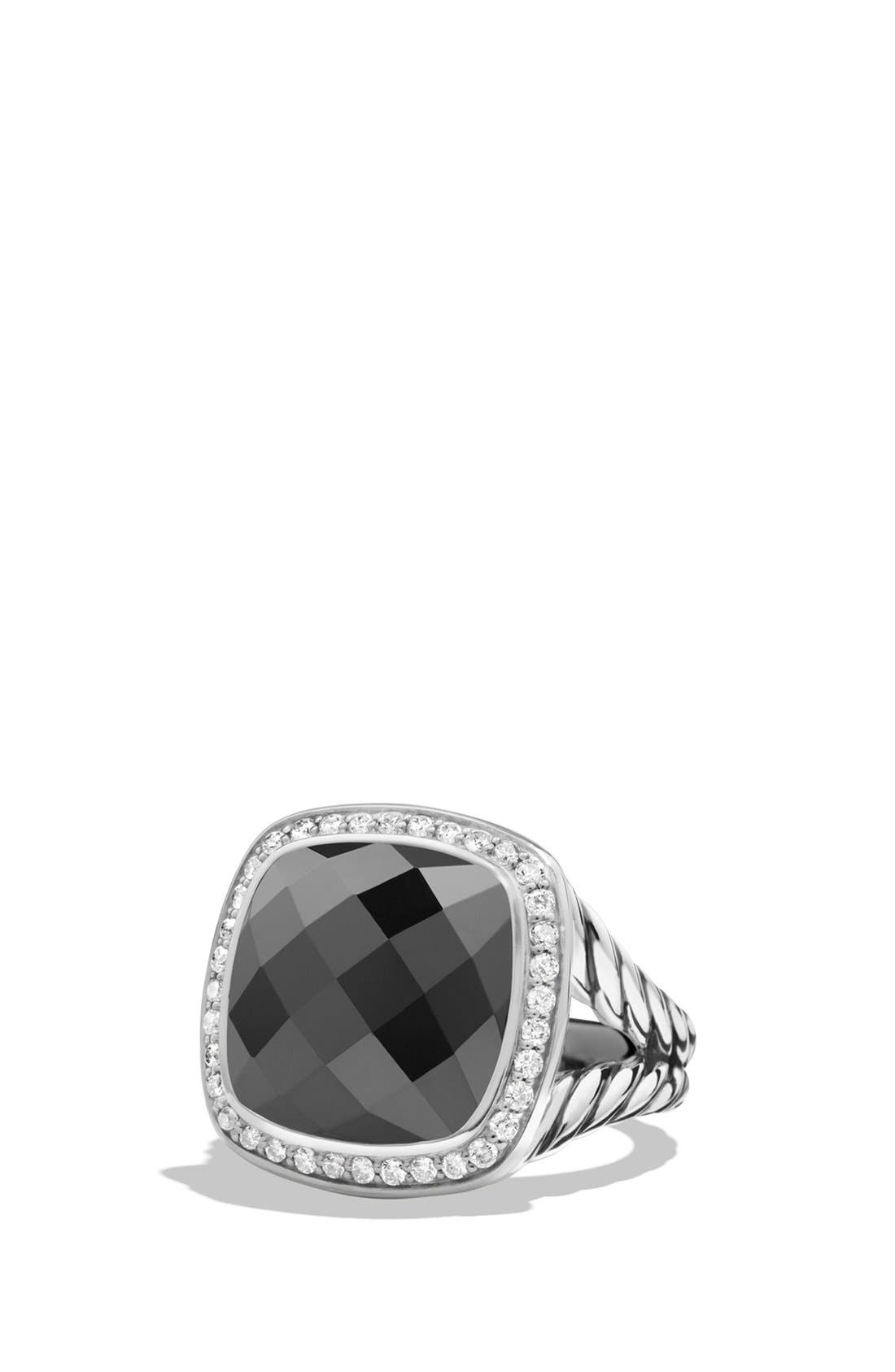 'Albion' Ring with Semiprecious Stone and Diamonds,                         Main,                         color, HEMATINE