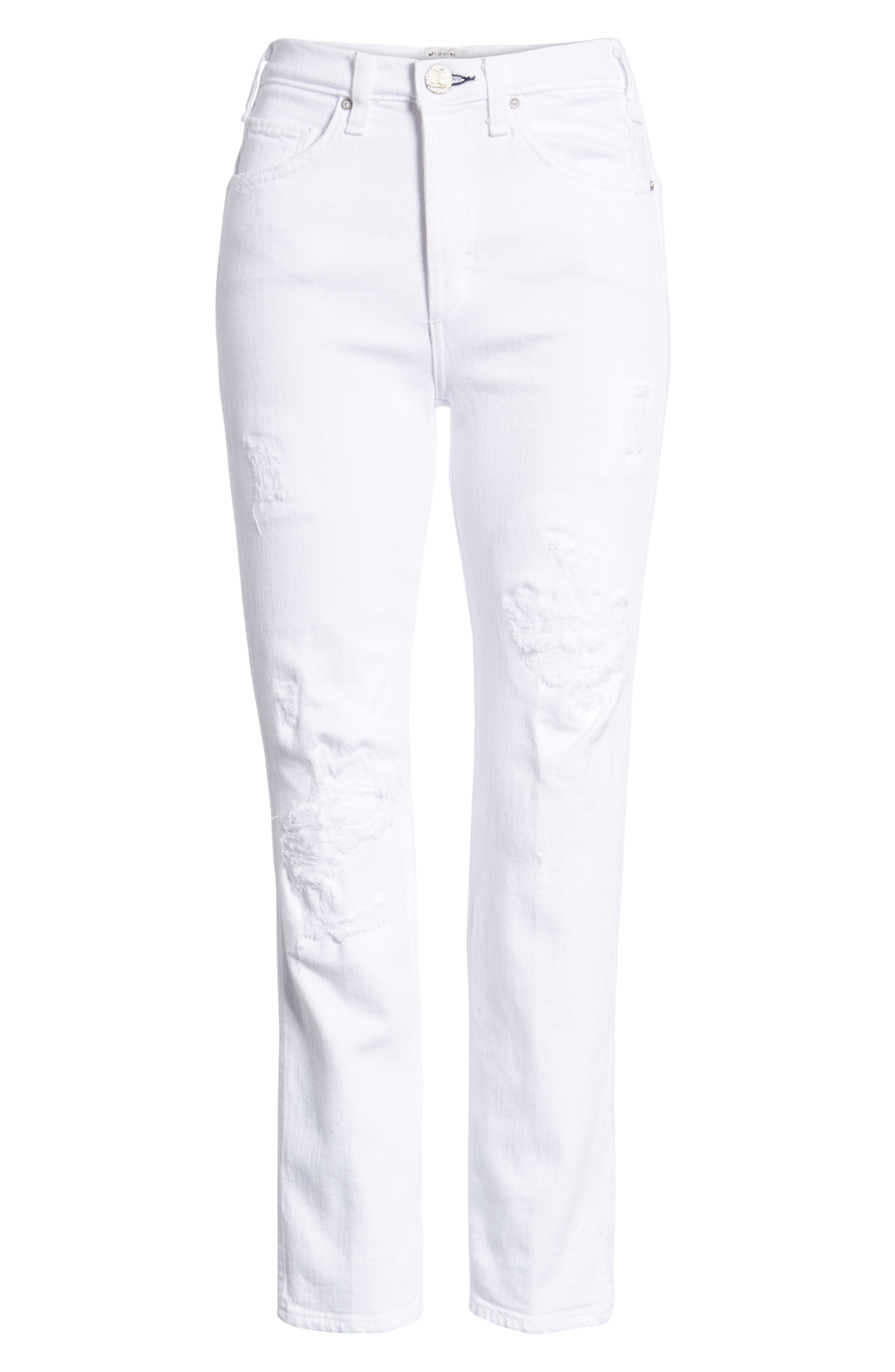 Kaia Distressed High Waist Slim Jeans,                             Alternate thumbnail 7, color,                             100