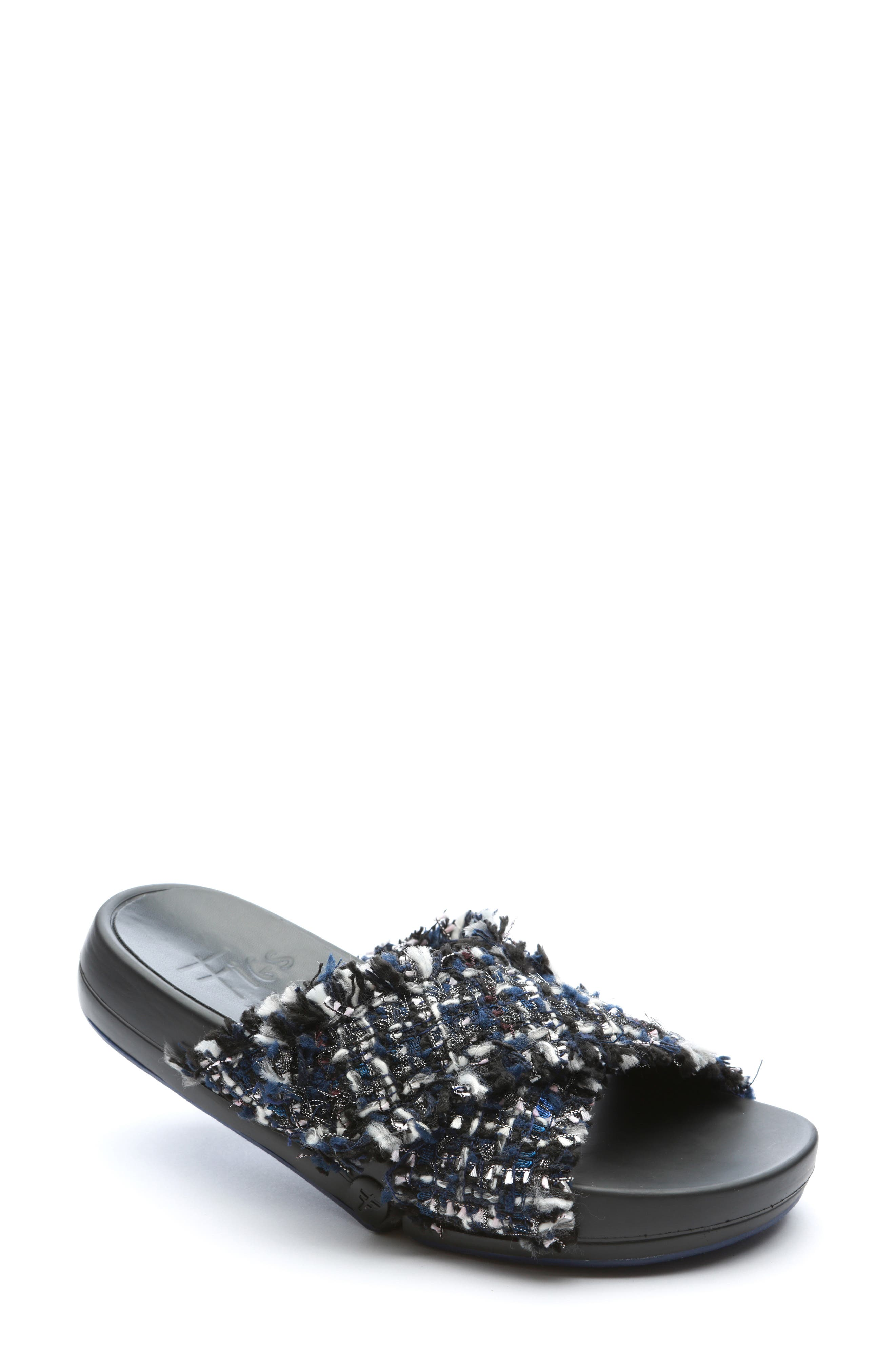 FIGS BY FIGUEROA Figomatic Tweed Slide Sandal, Main, color, NAVY FABRIC