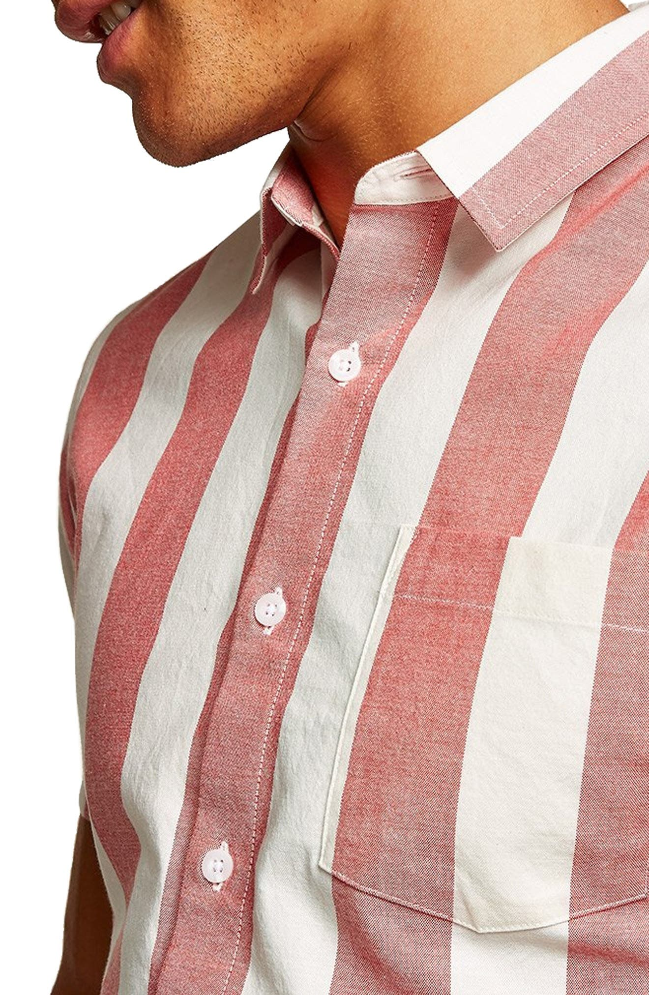 Muscle Stripe Woven Shirt,                             Alternate thumbnail 2, color,                             RED MULTI