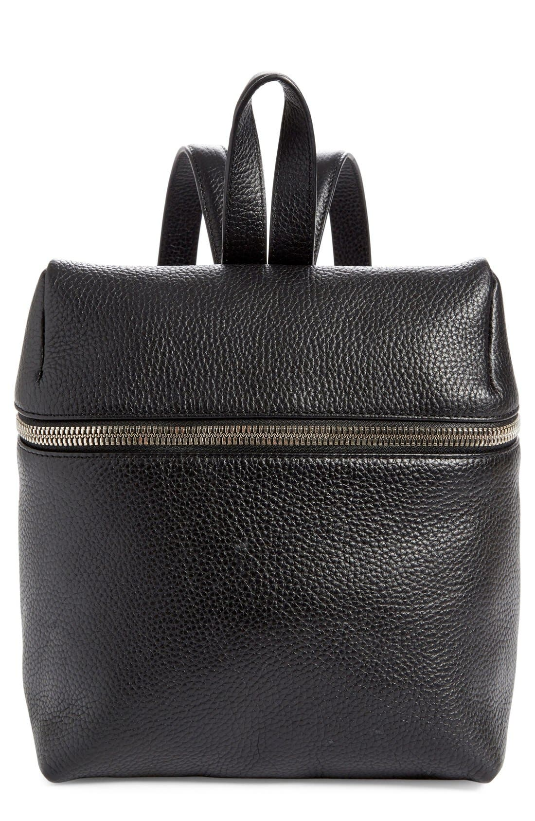 Small Pebbled Leather Backpack,                             Main thumbnail 1, color,                             BLACK