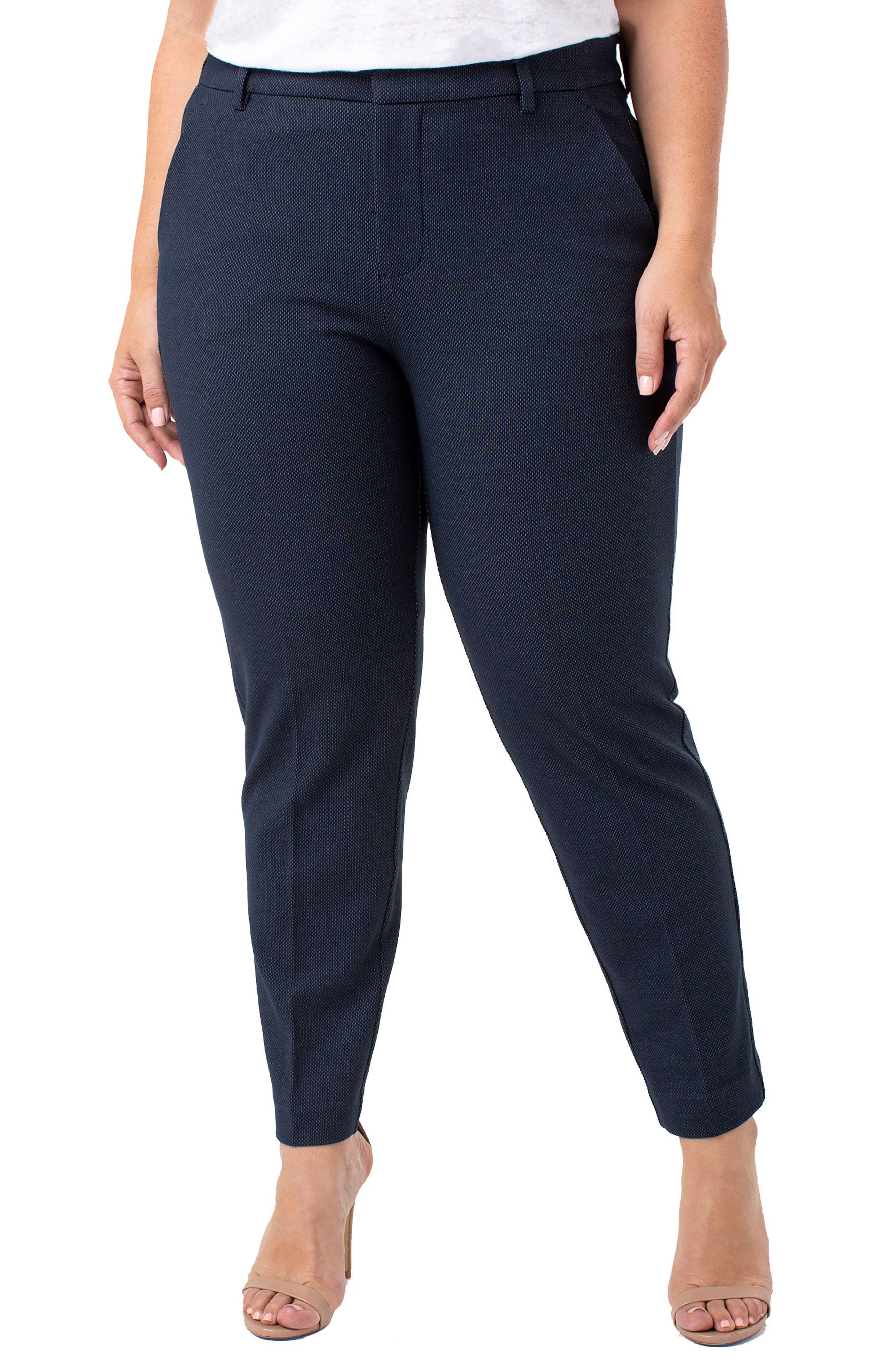 Kelsey Stretch Knit Pants,                         Main,                         color, NAVY BIRDSEYE