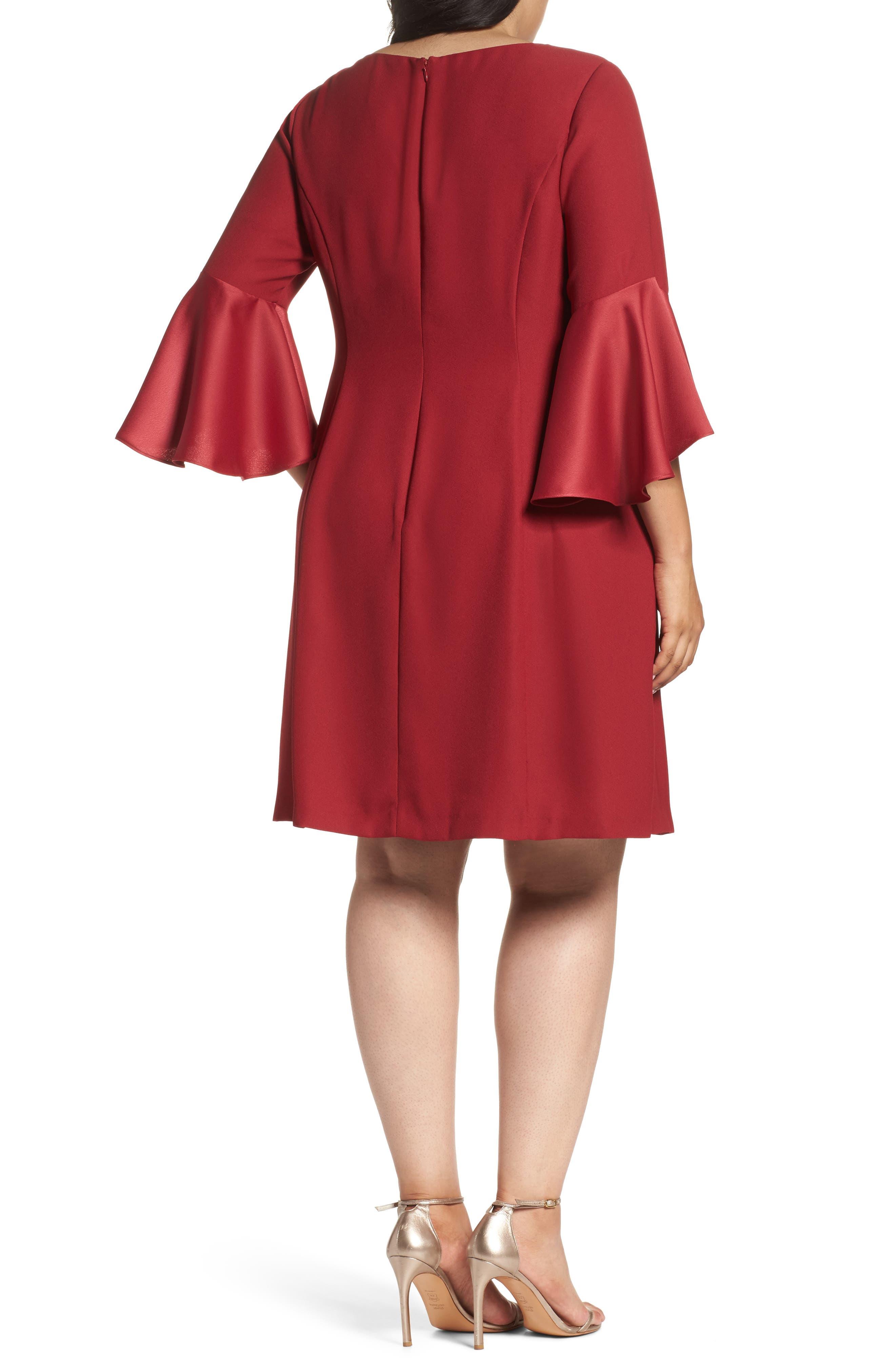 Bell Sleeve A-Line Dress,                             Alternate thumbnail 4, color,