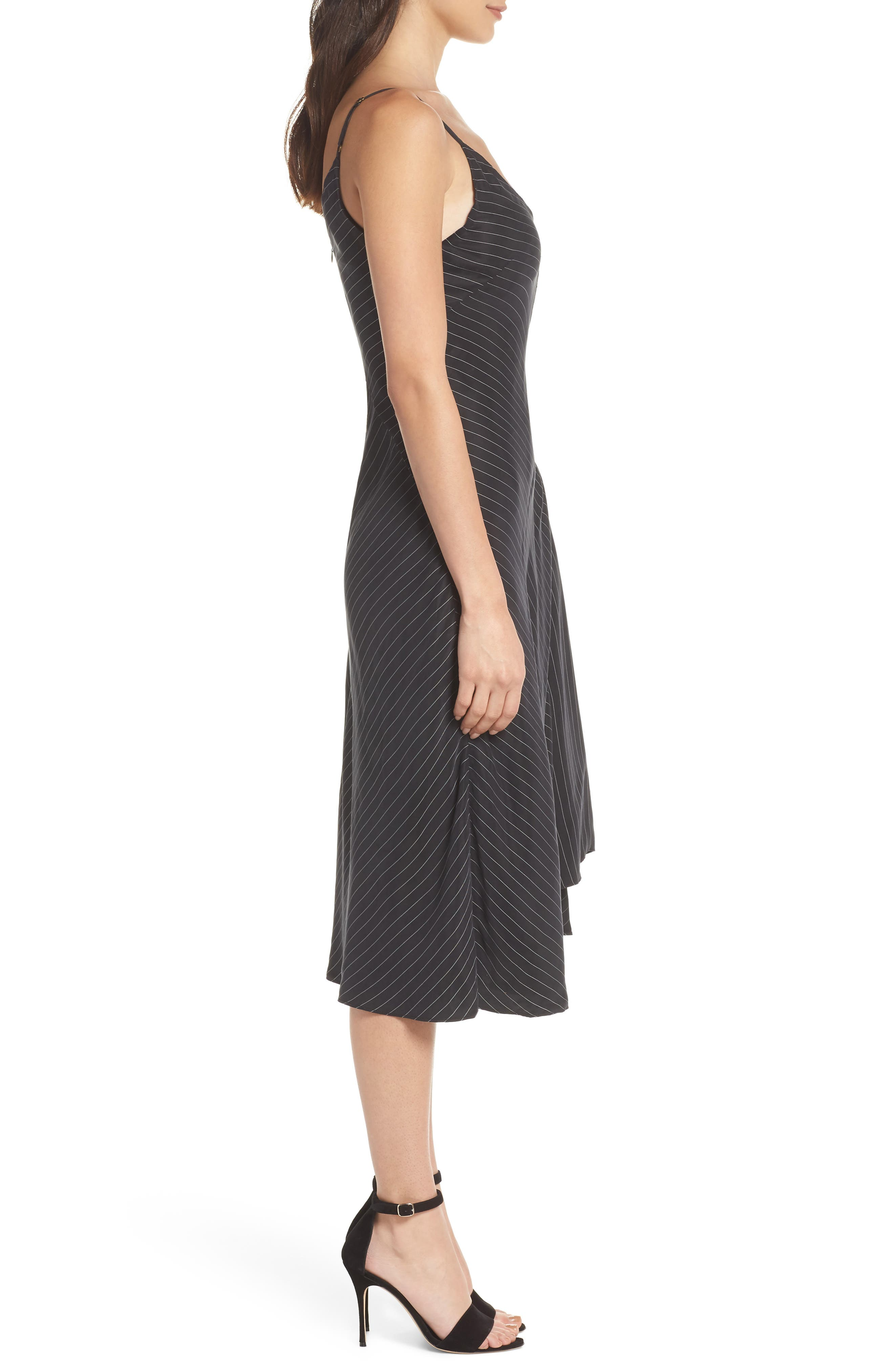 Bay Area Sleeveless Pinstripe Midi Dress,                             Alternate thumbnail 3, color,                             001