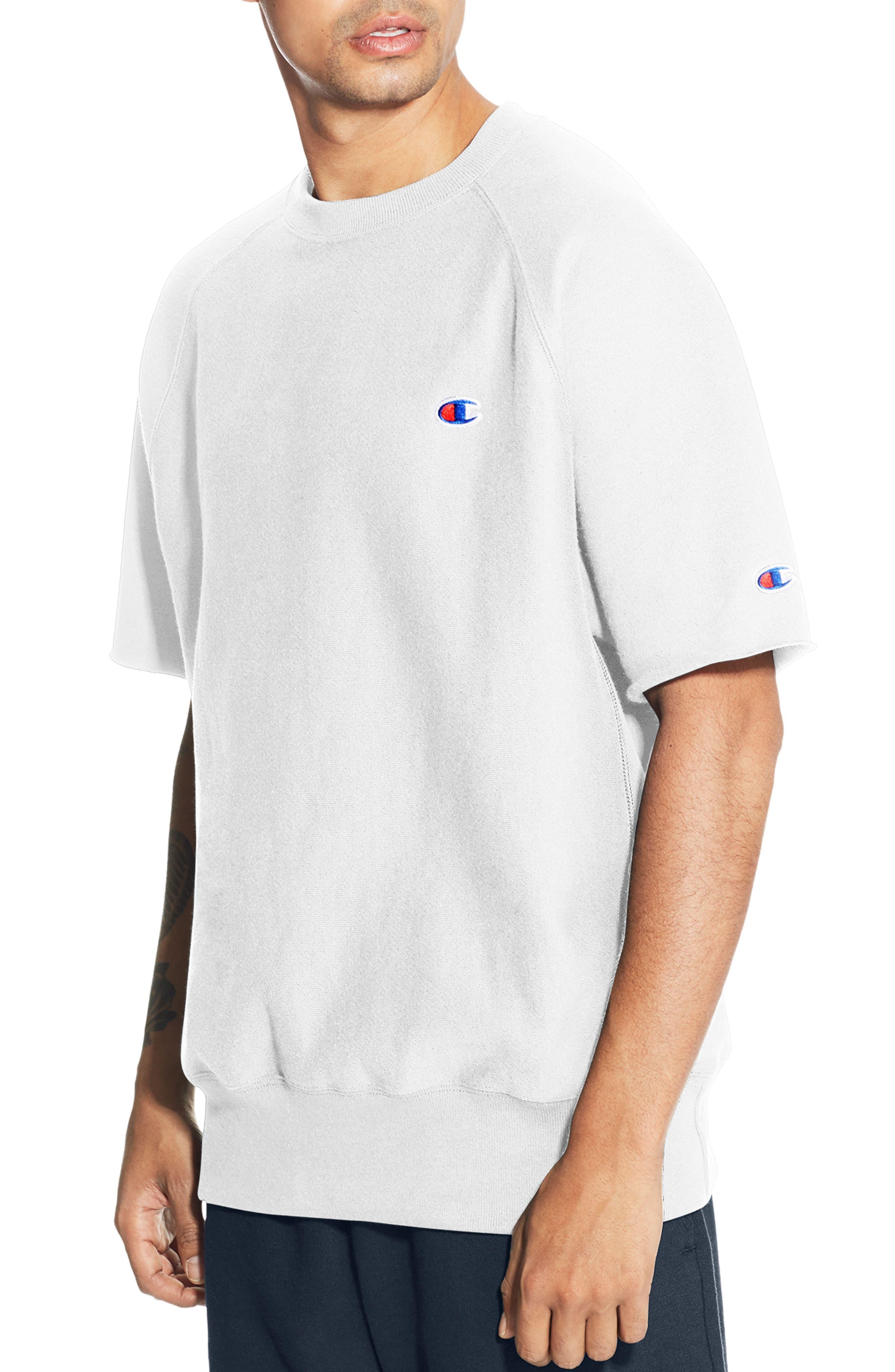 Reverse Weave Short Sleeve Sweatshirt, Main, color, WHITE