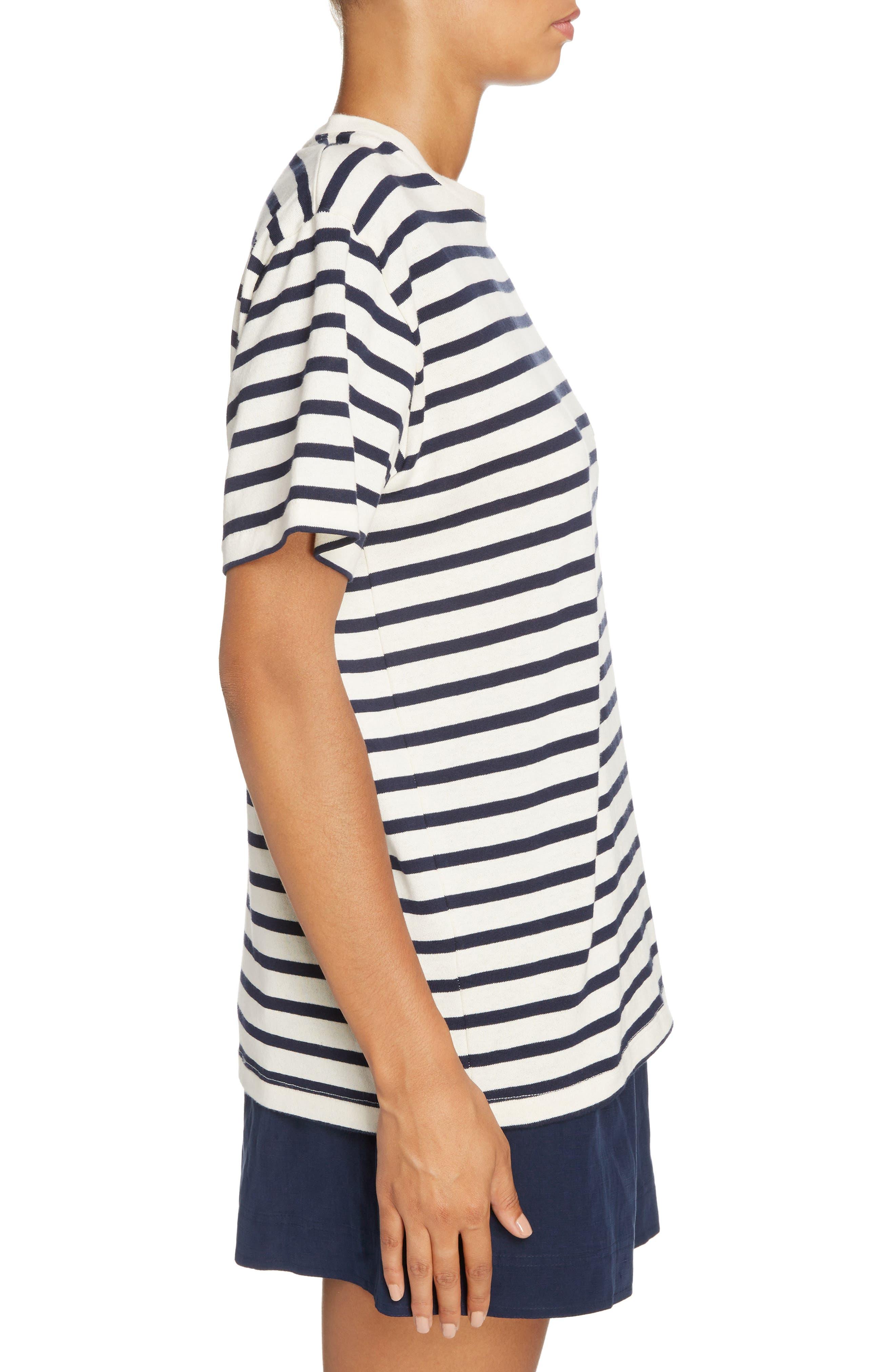 Breton Stripe Knot Sleeve Tee,                             Alternate thumbnail 3, color,