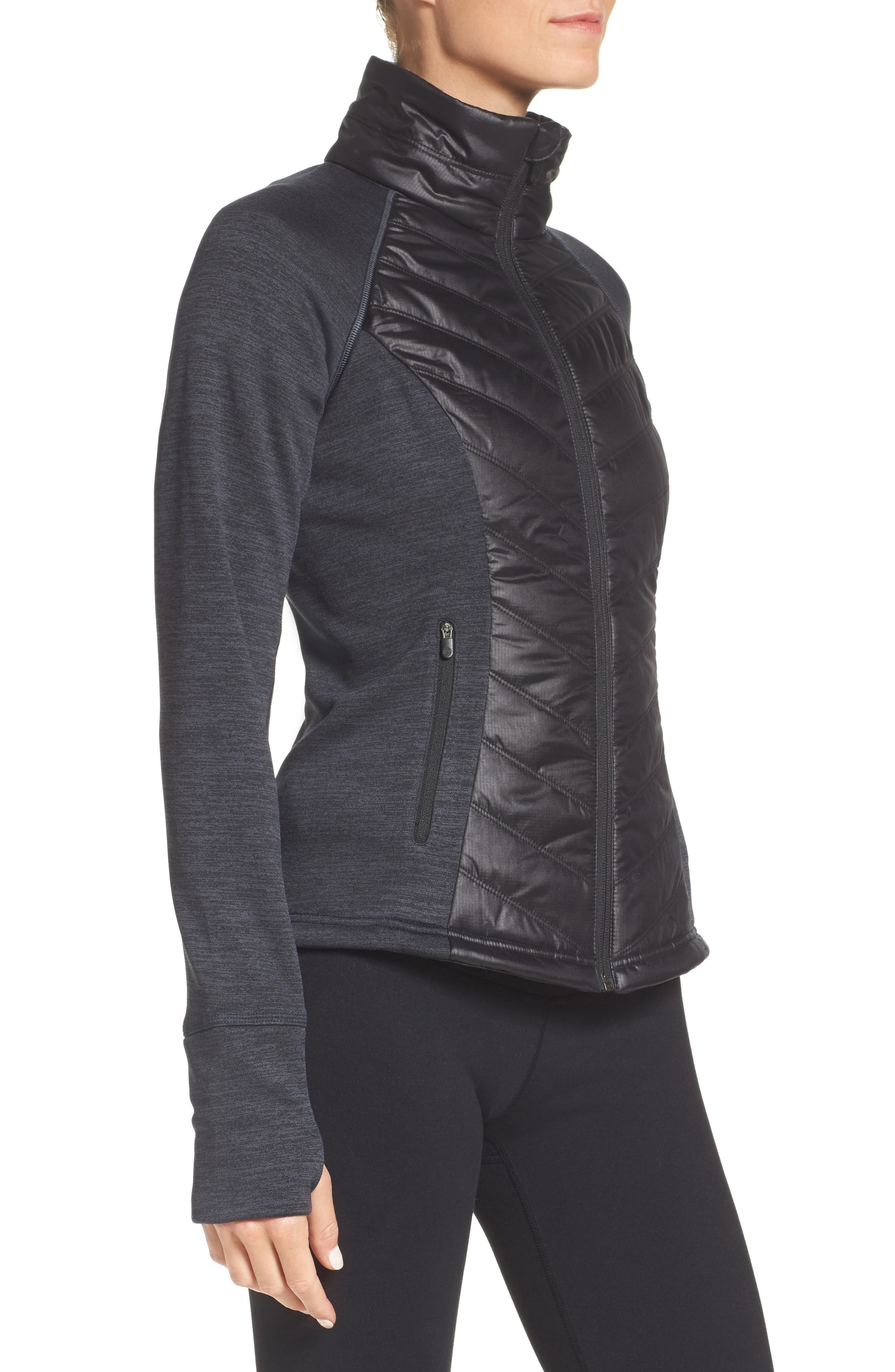 Zelfusion Reflective Quilted Jacket,                             Alternate thumbnail 3, color,                             001