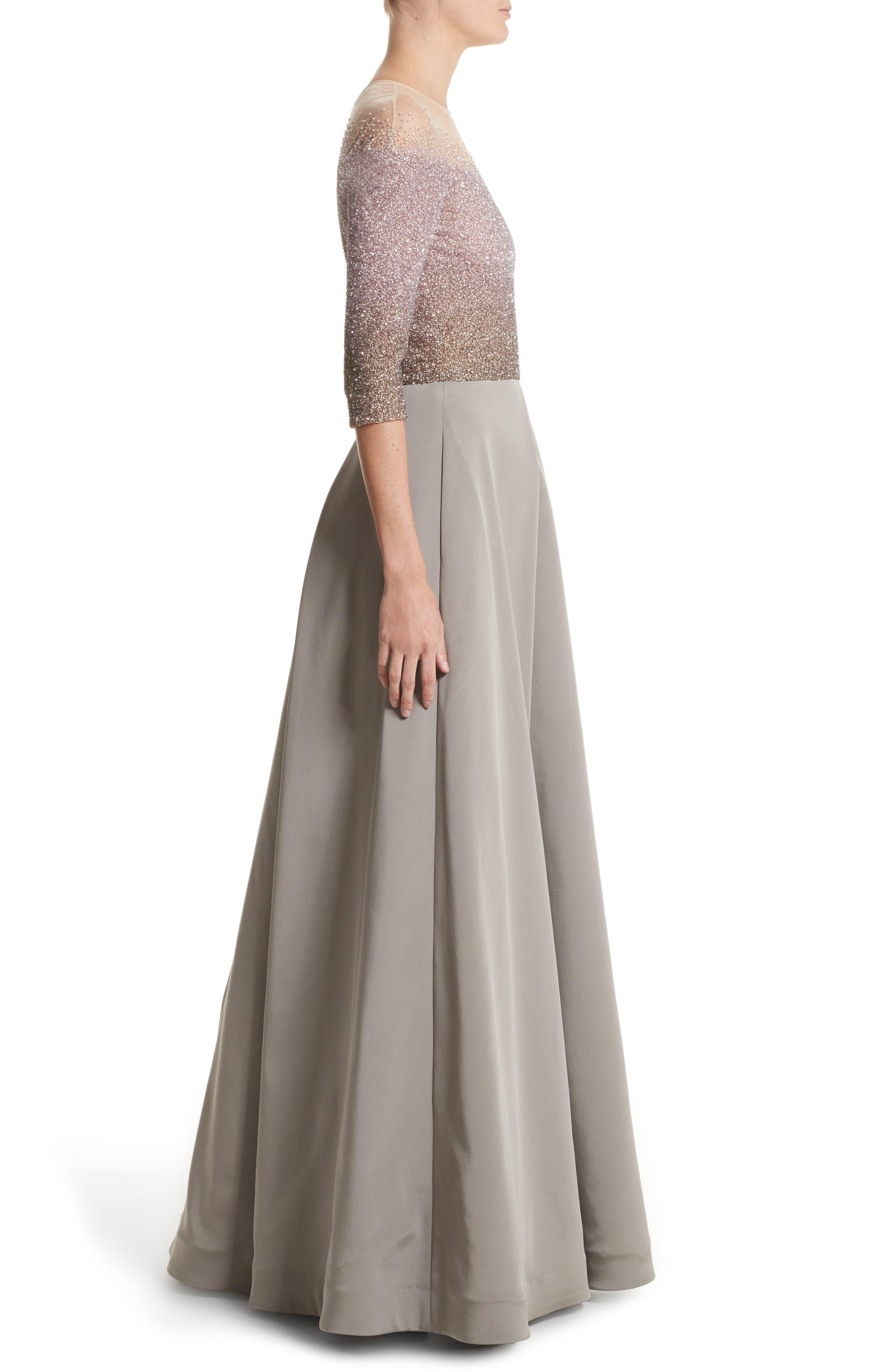 Illusion Sequin & Faille A-Line Gown,                             Alternate thumbnail 3, color,                             244