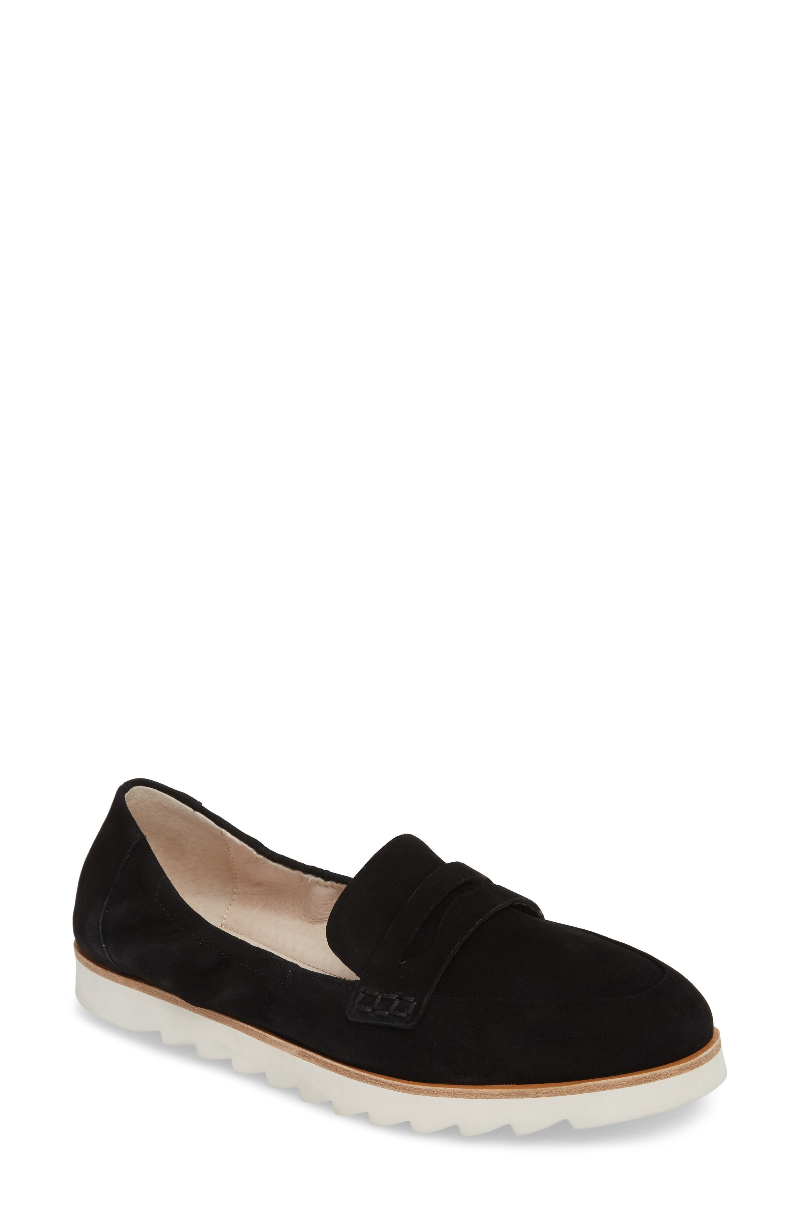 Rylee Penny Loafer,                             Main thumbnail 1, color,                             BLACK NUBUCK