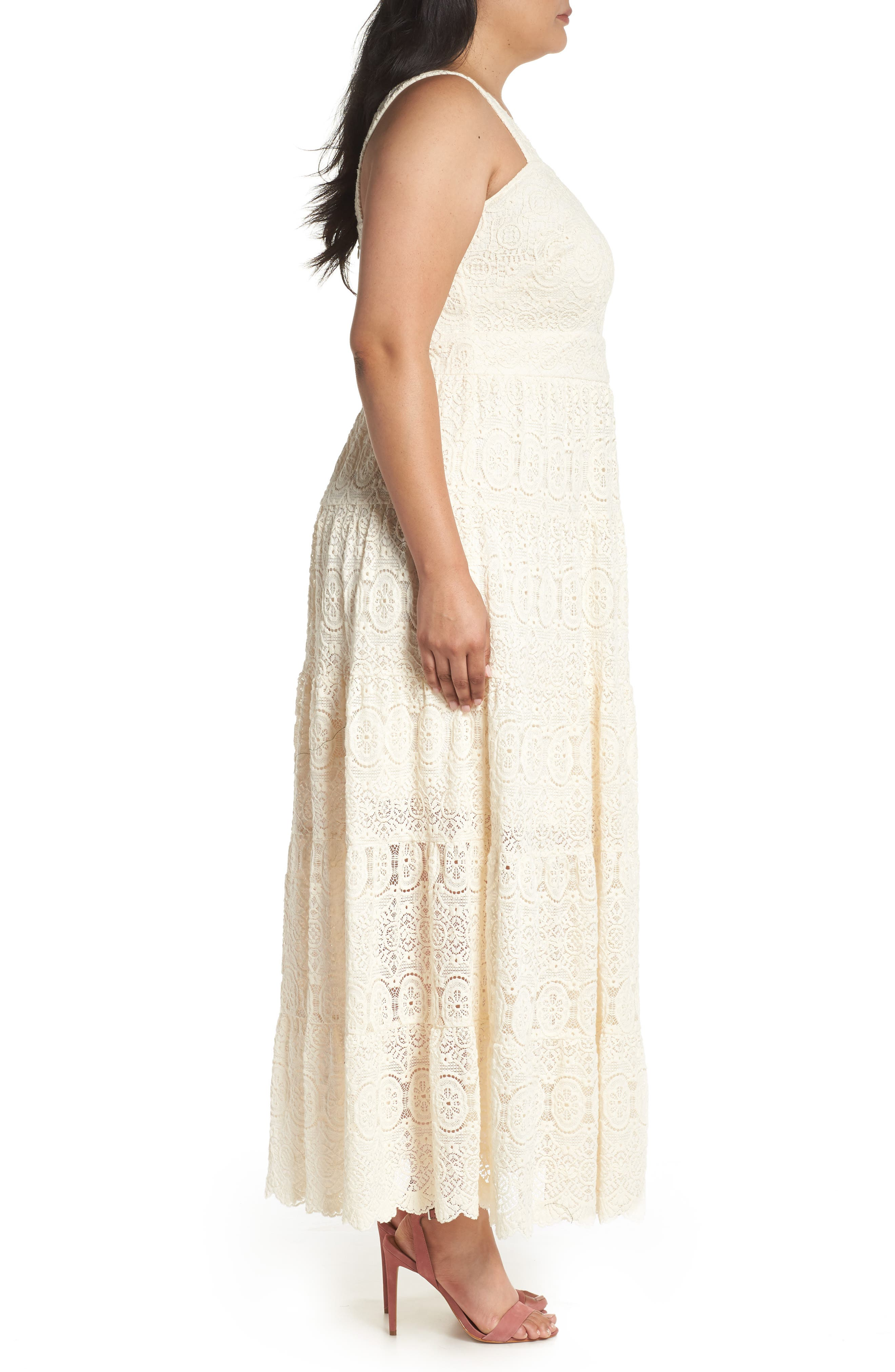 Tiered Lace Maxi Dress,                             Alternate thumbnail 3, color,