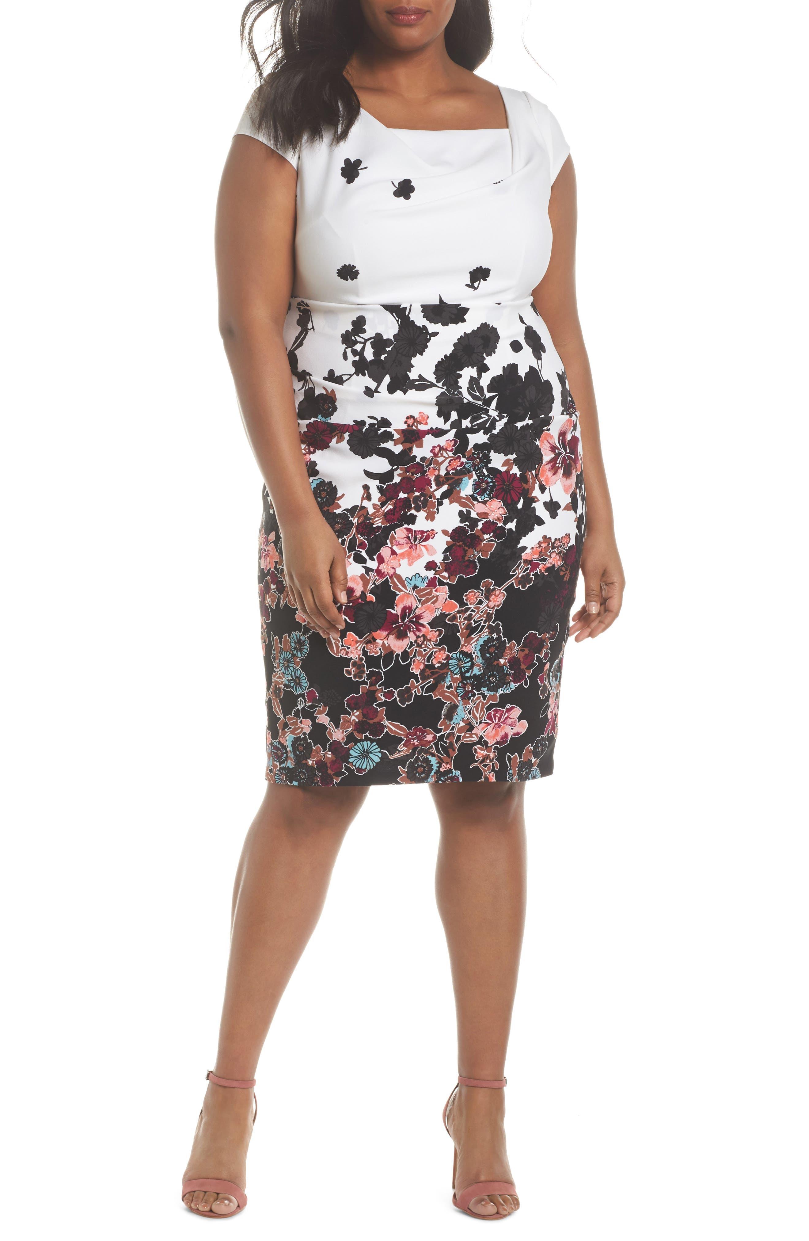 Floral Bliss Draped Sheath Dress,                         Main,                         color, 900