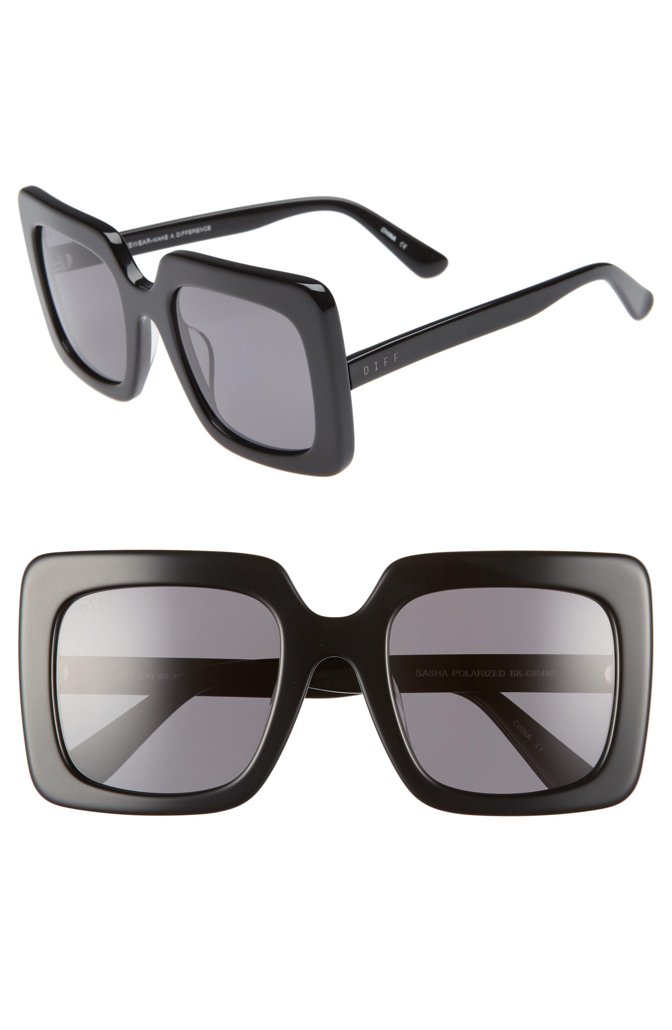 Sasha 53mm Polarized Sunglasses,                             Main thumbnail 1, color,                             BLACK/ GREY