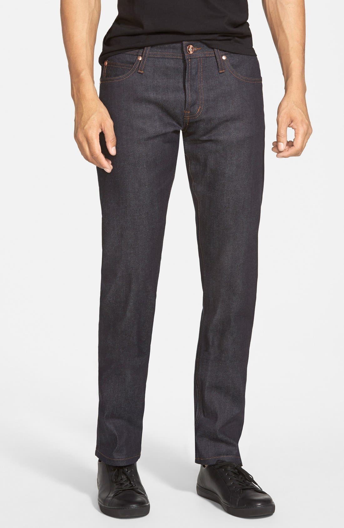 'UB122' Skinny Fit Raw Selvedge Jeans, Main, color, 401