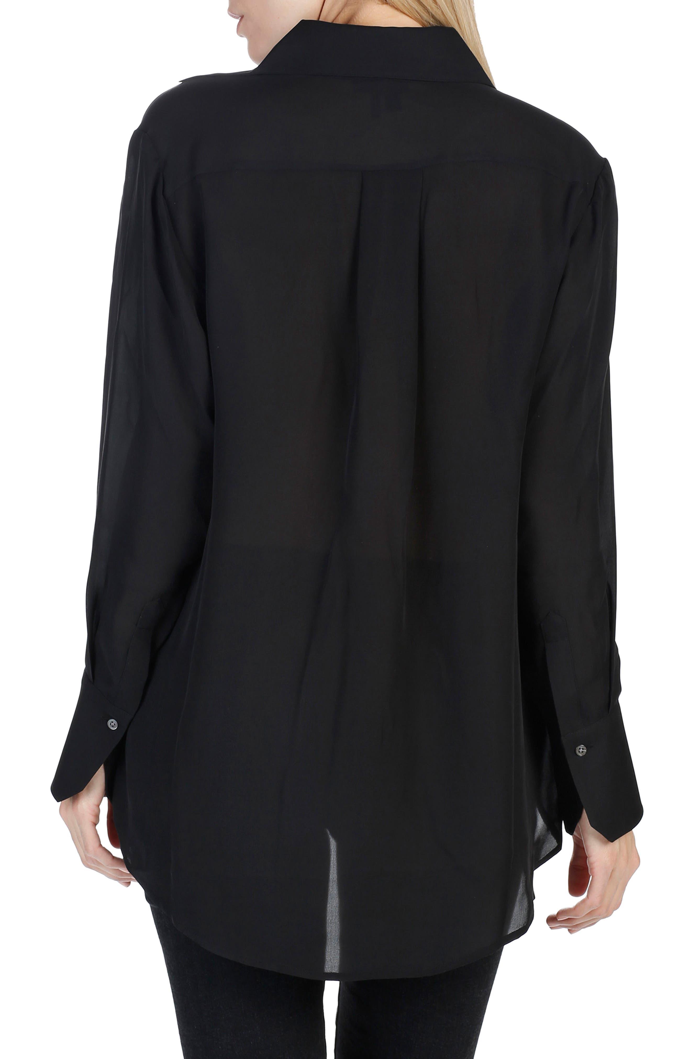 Clemence Silk Shirt,                             Alternate thumbnail 3, color,                             001