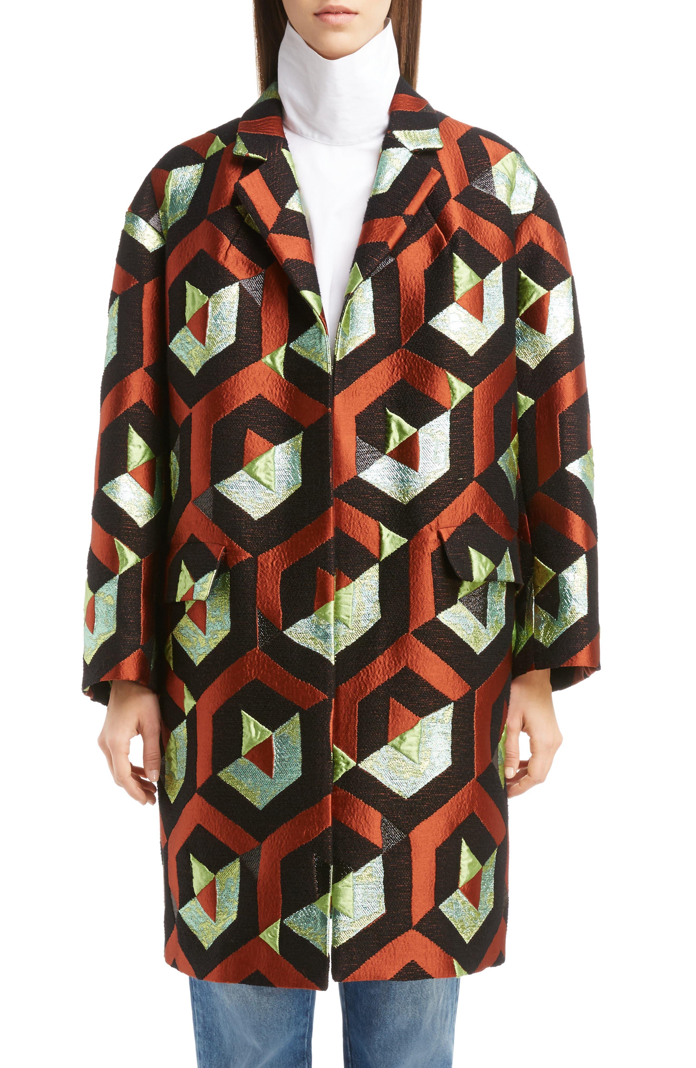 Geo Metallic Jacquard Coat,                         Main,                         color, 600
