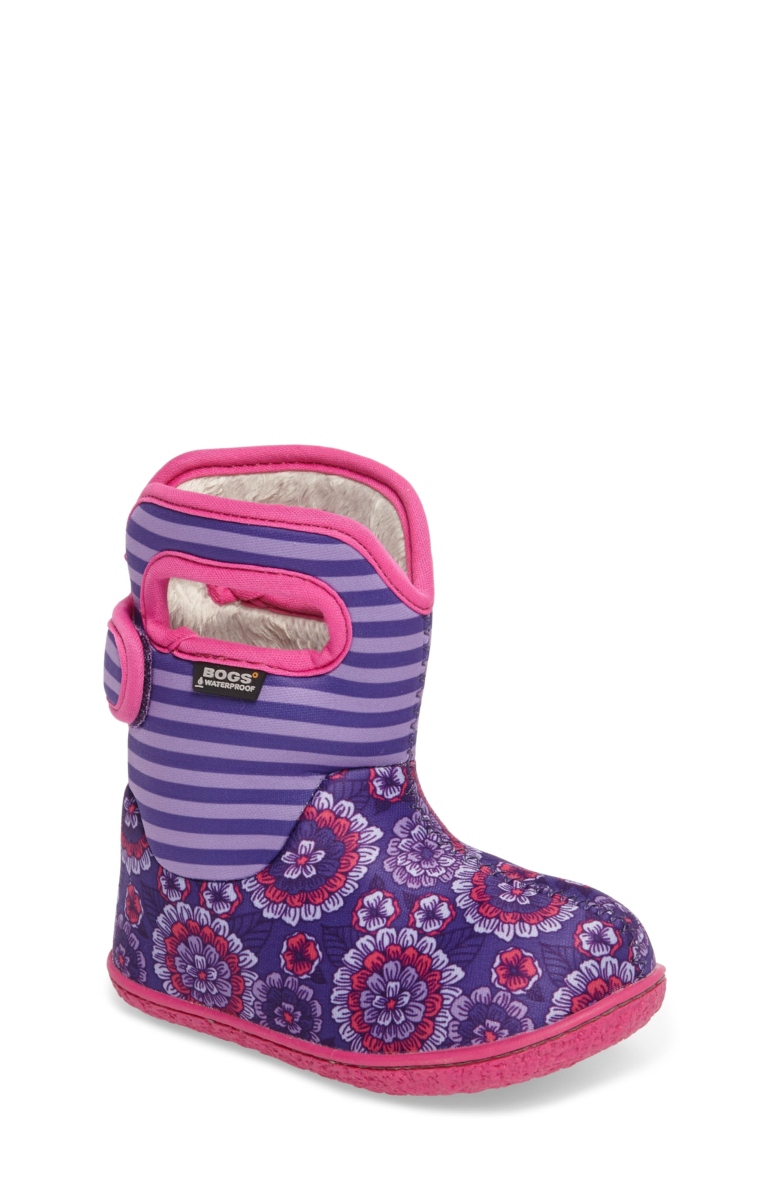 Baby Bogs Classic Pansies Washable Insulated Waterproof Boot,                             Main thumbnail 1, color,                             PURPLE MULTI