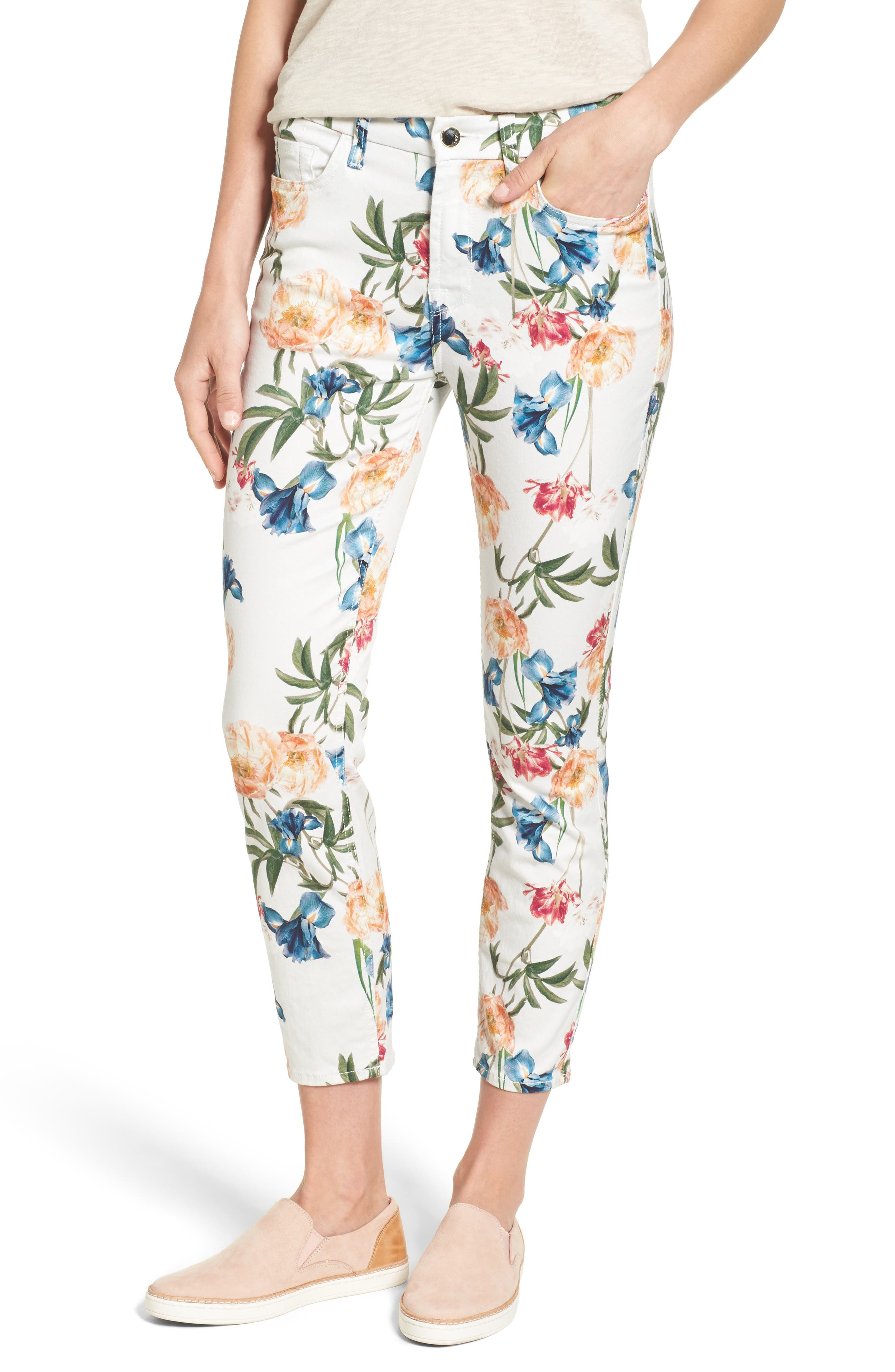 Floral Print Crop Skinny Jeans,                             Main thumbnail 1, color,                             101