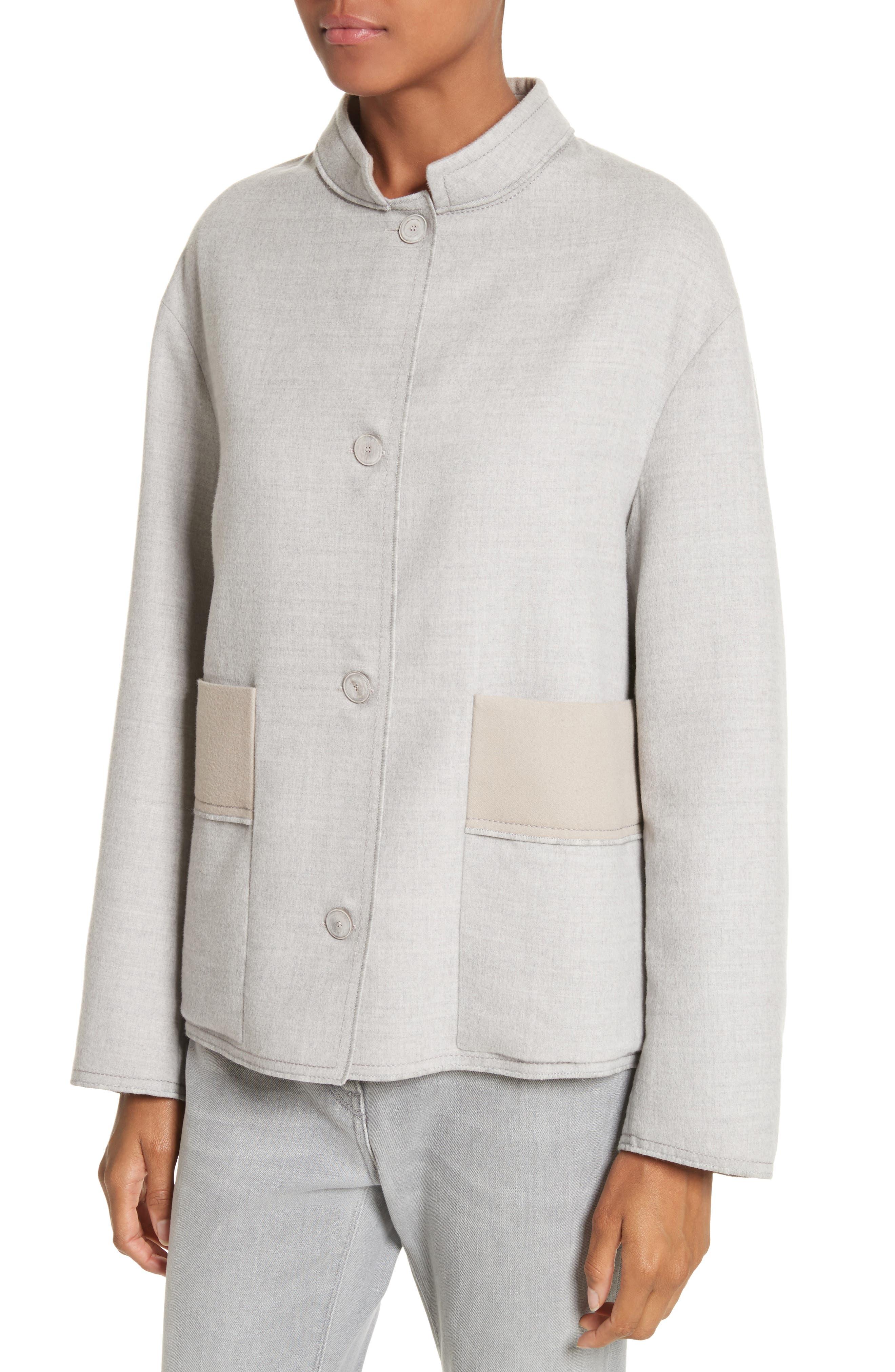 Double Face Silk & Wool Jacket,                             Alternate thumbnail 4, color,                             050