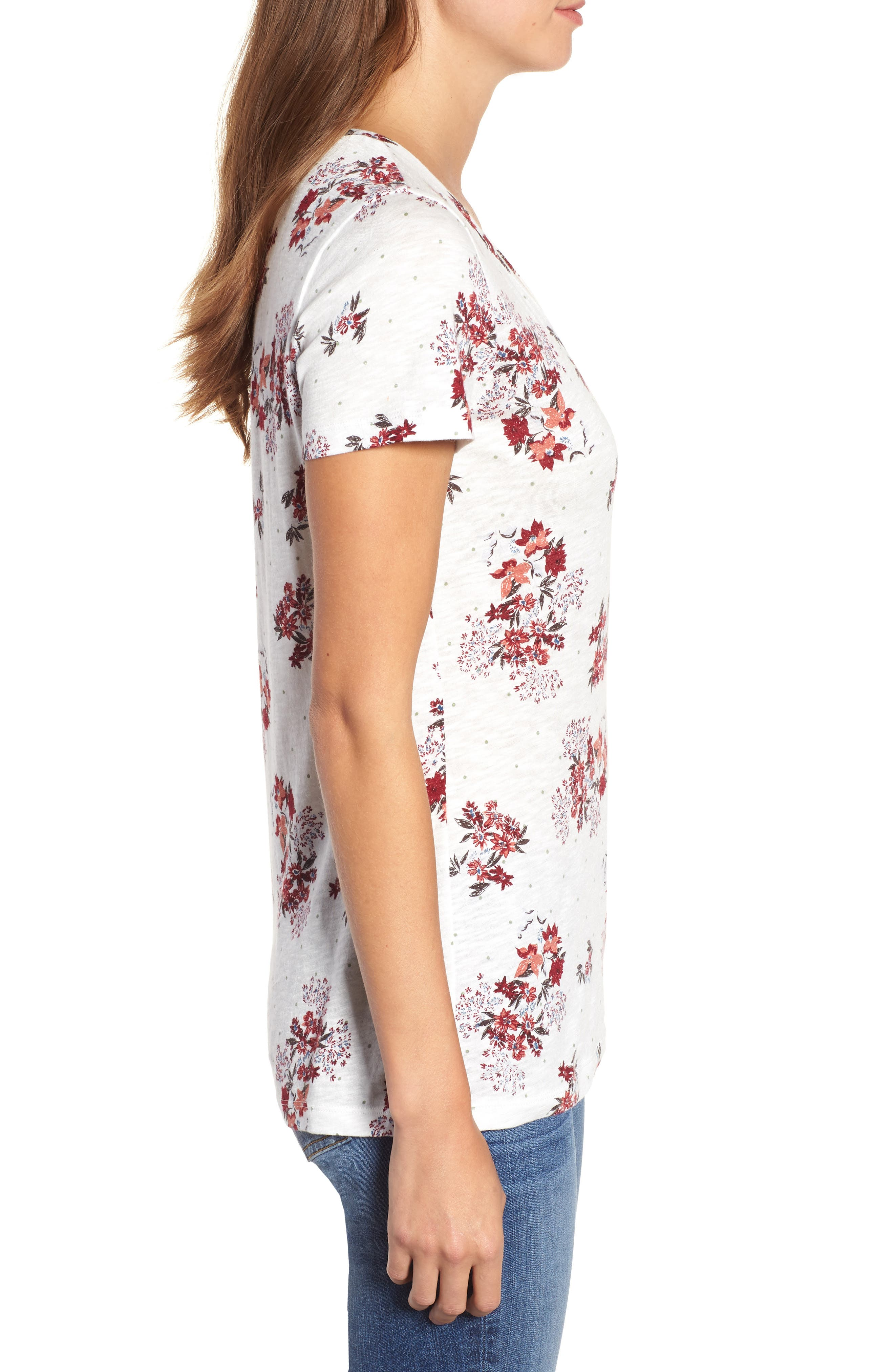 Rounded V-Neck Tee,                             Alternate thumbnail 3, color,                             IVORY SKETCHED FLORAL