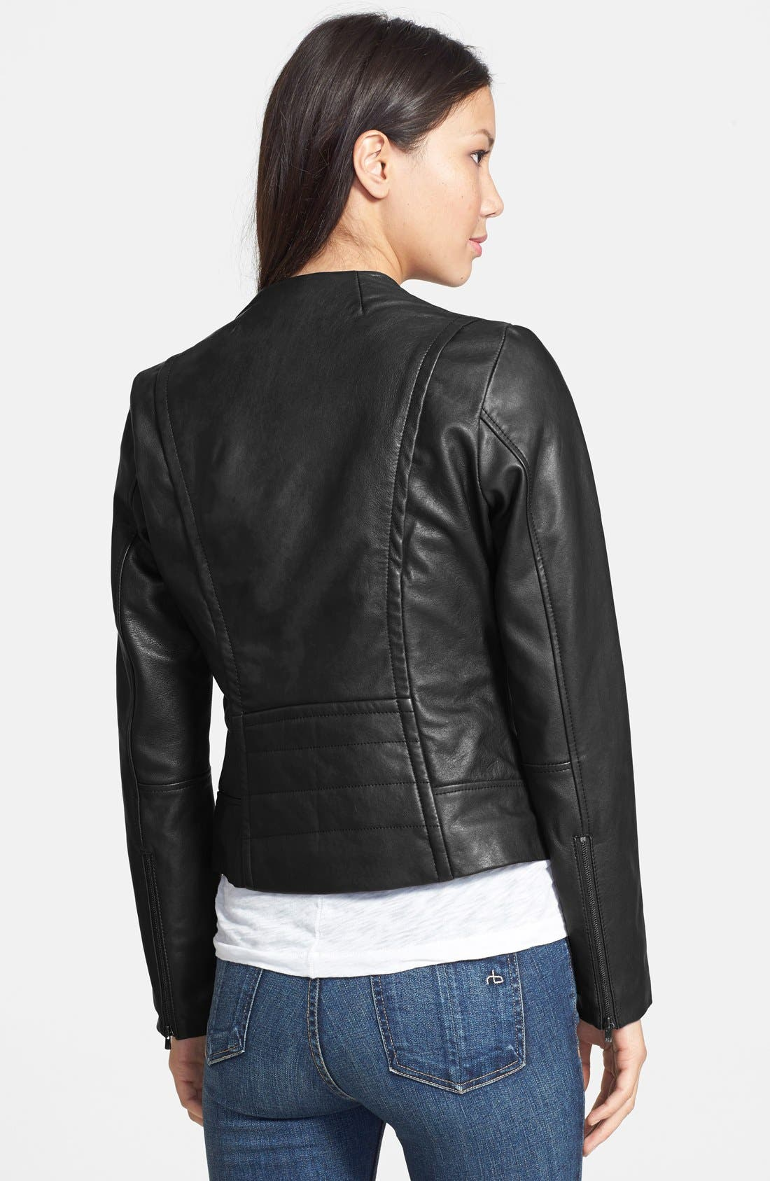 7 FOR ALL MANKIND<SUP>®</SUP>,                             Collarless Leather Moto Jacket,                             Alternate thumbnail 2, color,                             001
