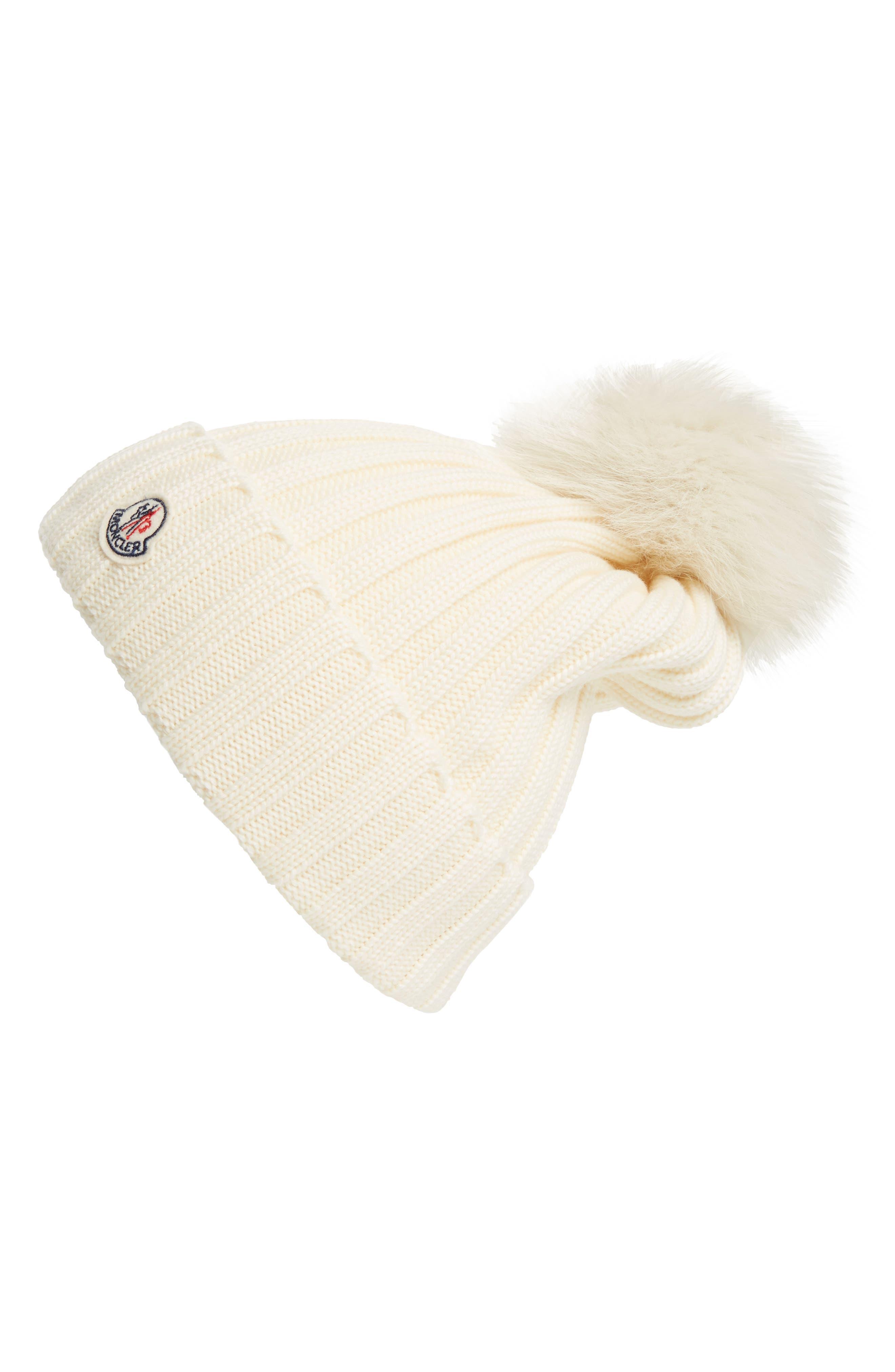 MONCLER Genuine Fox Fur Pom Wool Beanie, Main, color, IVORY