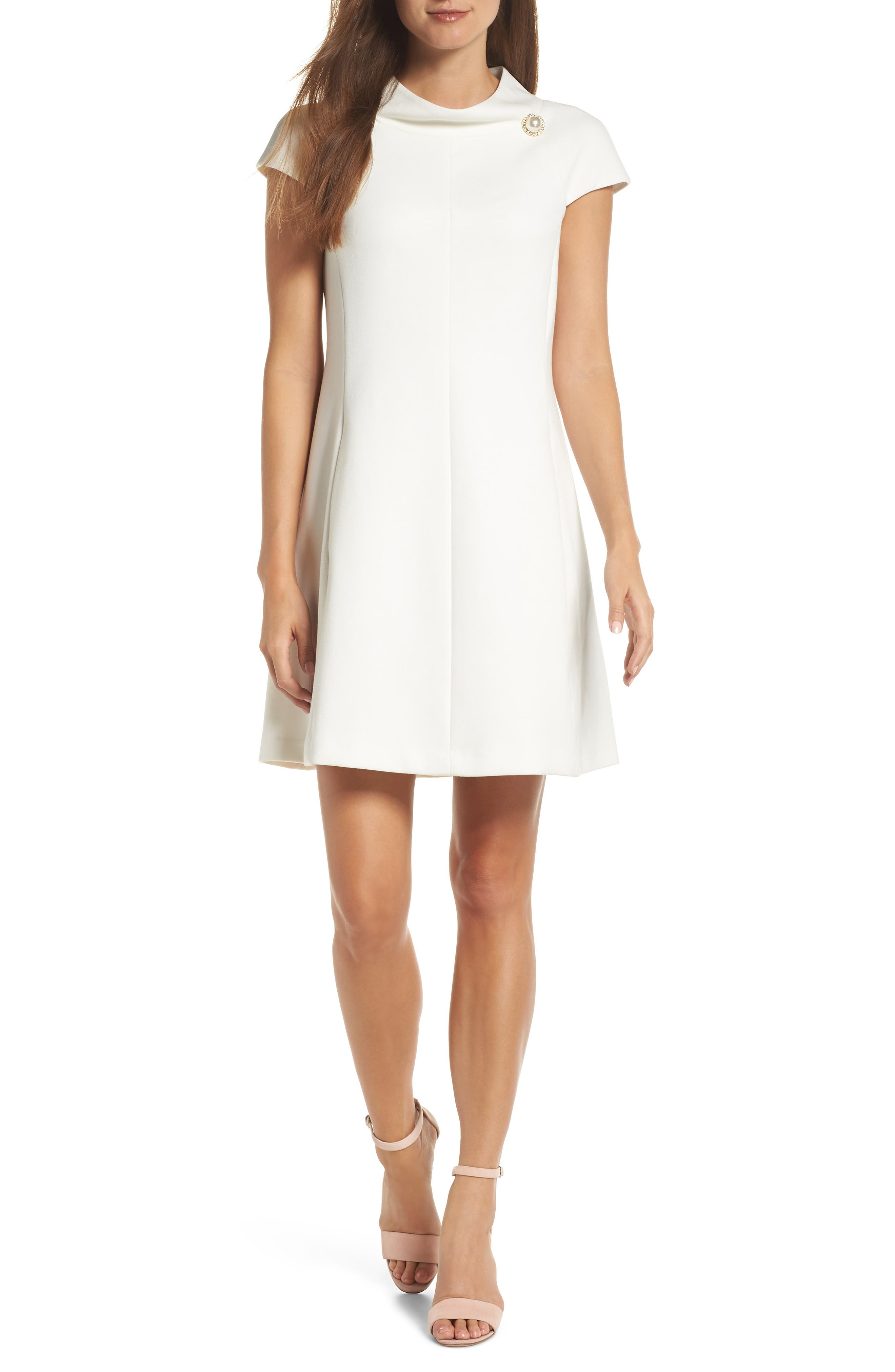 Petite Harper Rose Stand Collar A-Line Dress, Ivory