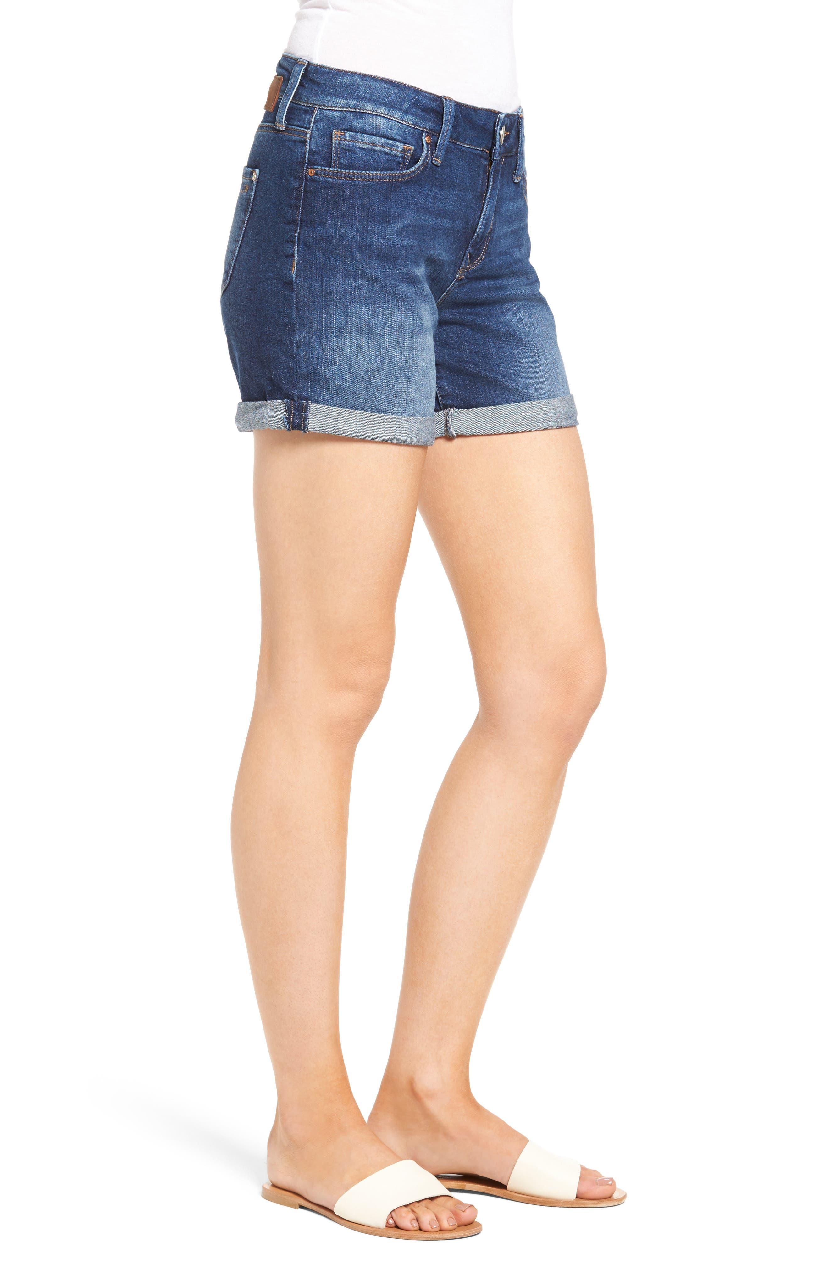 Marla Roll Cuff Denim Shorts,                             Alternate thumbnail 3, color,                             401