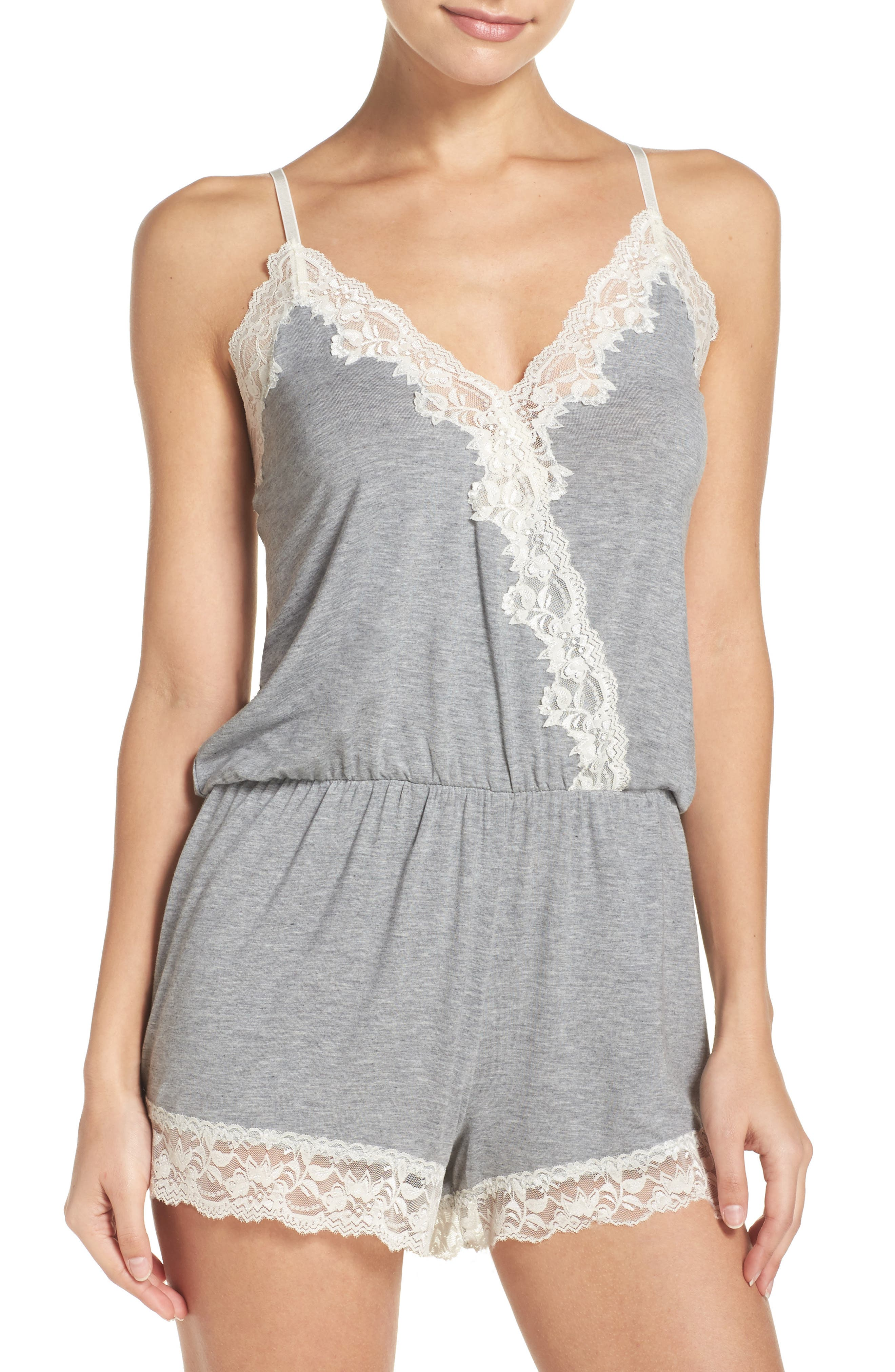 Flora Nikrooz Stretch Modal Lounge Romper,                             Main thumbnail 1, color,                             HEATHER GREY