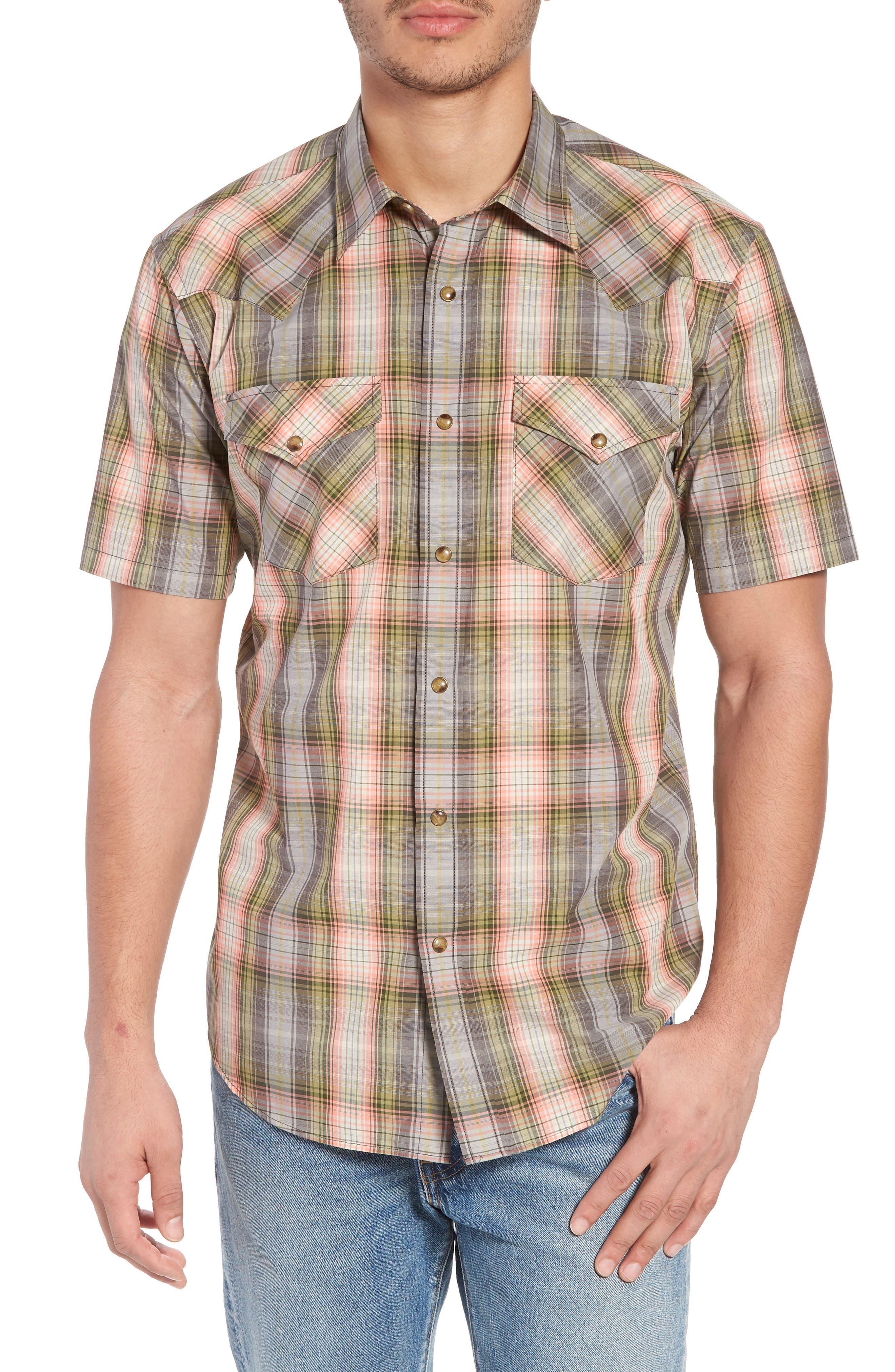 Frontier Regular Fit Plaid Short Sleeve Sport Shirt,                         Main,                         color,