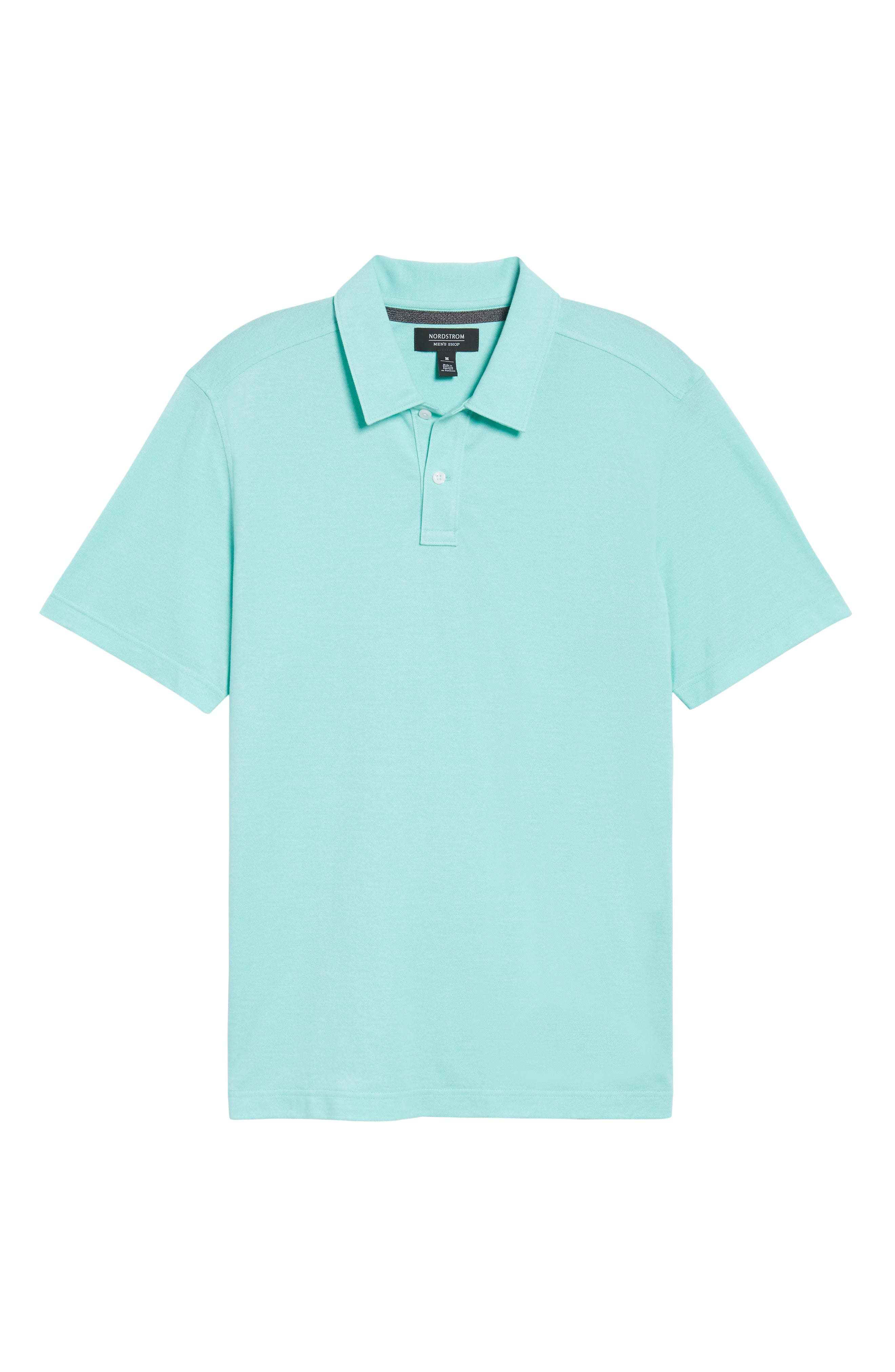 Regular Fit Polo,                             Alternate thumbnail 6, color,                             TEAL GLOSS